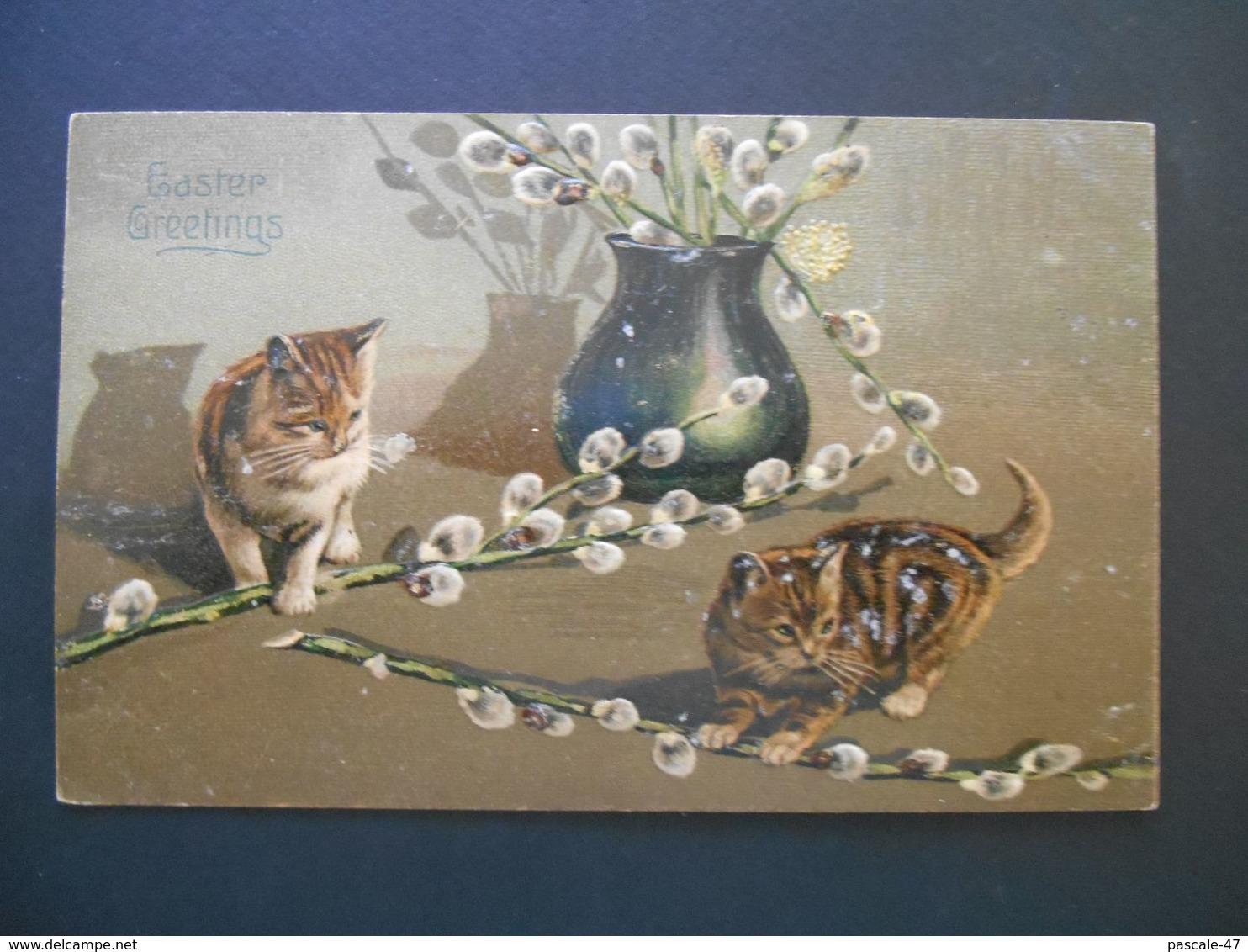 Chatons Jouant Avec Fleurs Tombées D'un Vase - Gaufrée - Série 3079 - Chats