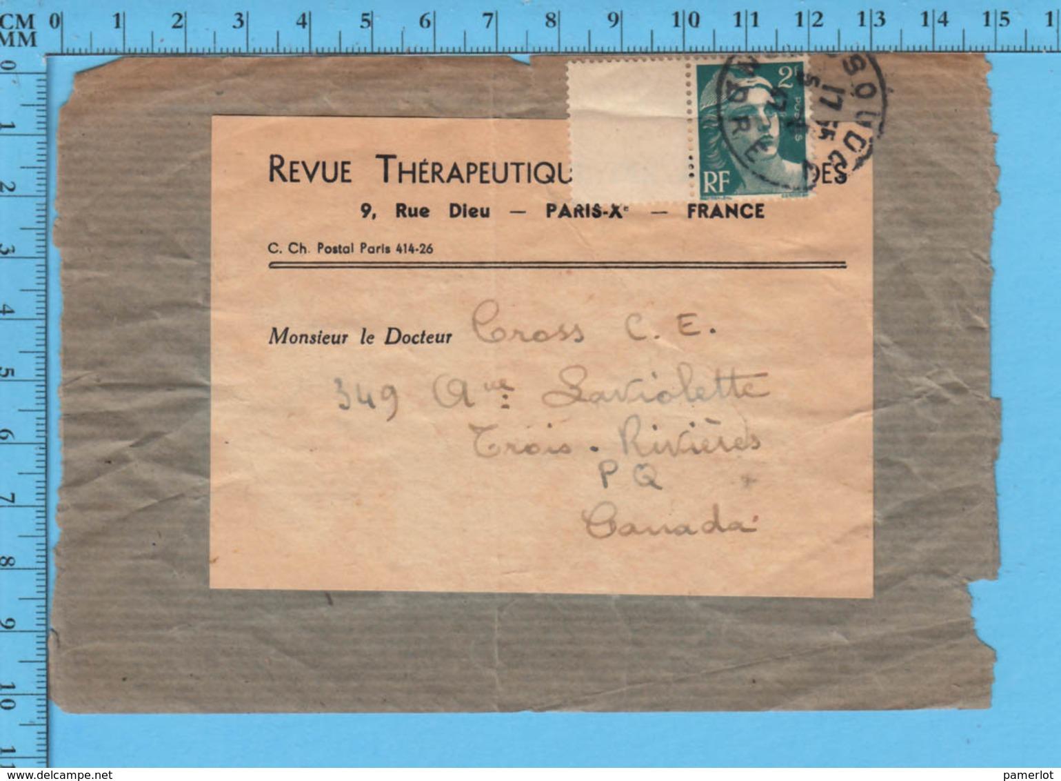 France Manchon De Journeau - Revue Thérapeutique Timbre Marianne Avec Bordure Postrmark 1947 Send To Trois-Rivieres P.Q. - Cartas