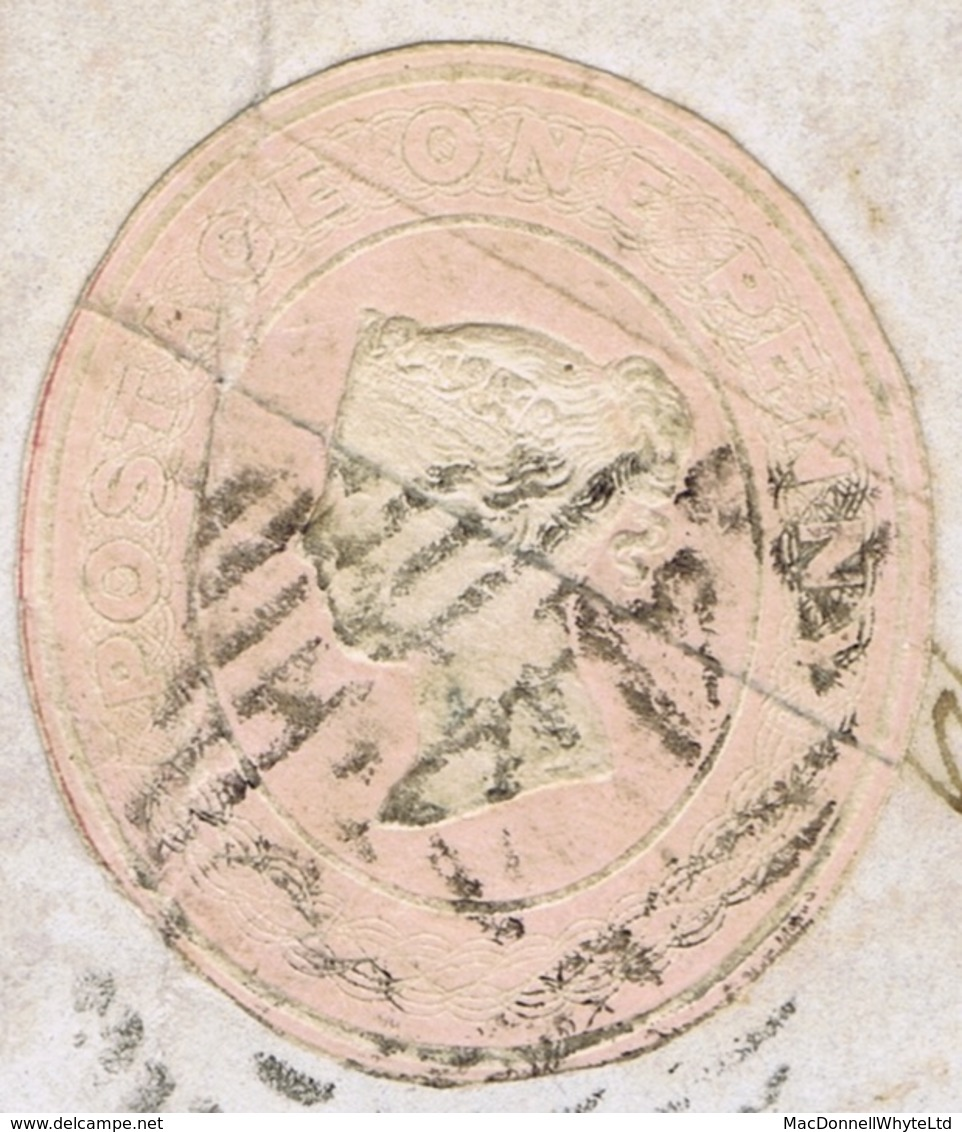Ireland Wexford Postal Stationery 1847 QV 1d Pink Cut-out Die 63 Used Legally To Prepay Letter BRIDGETOWN Type 1A - Ohne Zuordnung