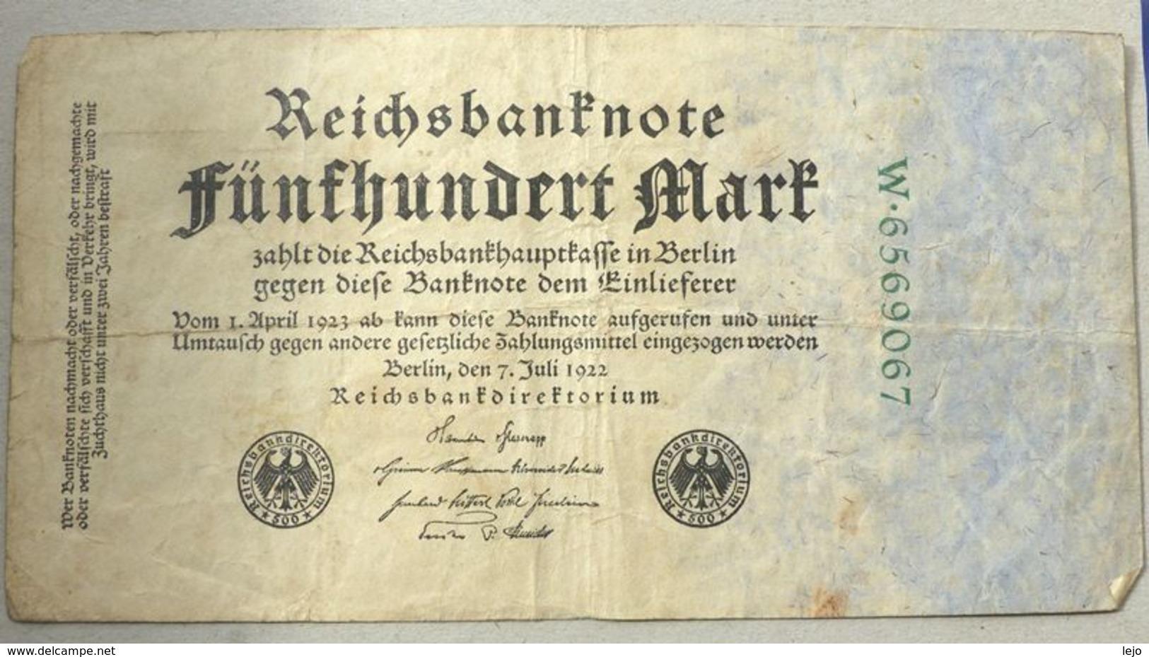 Reichsbanknote 500 Mark 07-07-1922 - 500 Mark