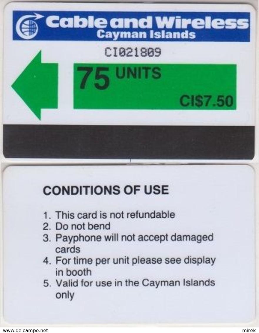 122/ Cayman Islands; P1. Green Arrow, 75 Ut., Prefix CI - Iles Cayman