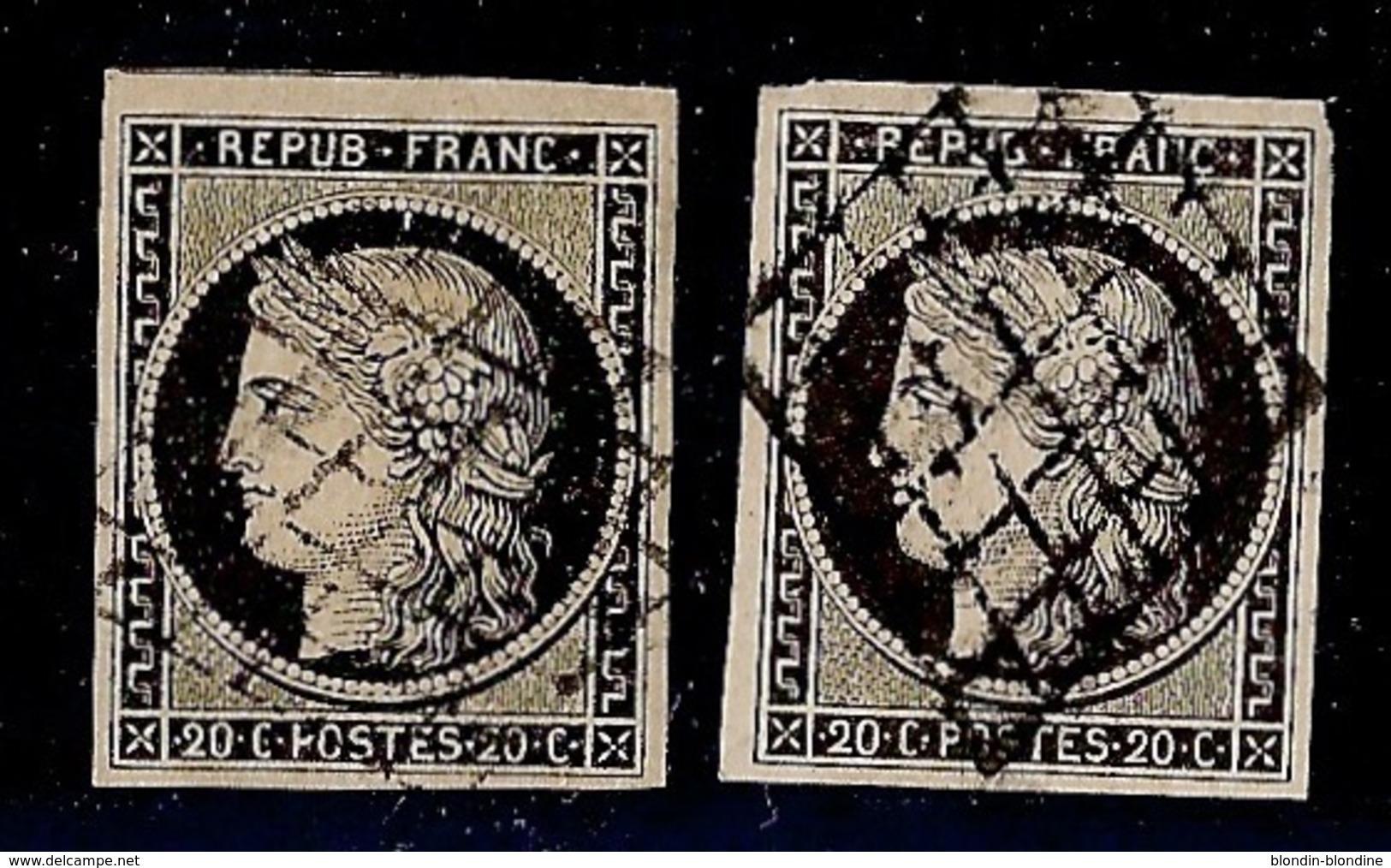 FRANCE YT 3 OBL TB Deux Ex  Signés Calves - 1849-1850 Cérès