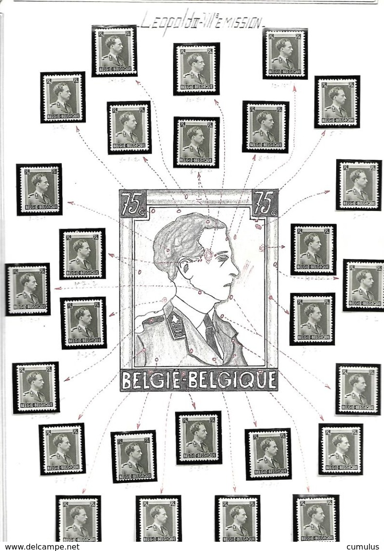 COB N° 480 Effigie De Léopold III 75 C Gris-olive Clair - Abarten Und Kuriositäten