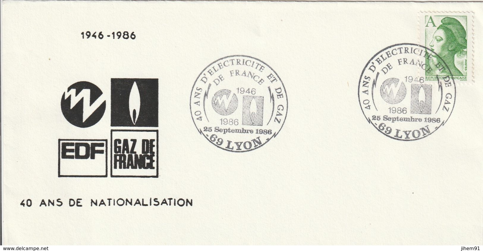 OT Sur Enveloppe : 40 Ans EDF-GDF (Lyon, Rhône, 69) Du 25-09-1986 (YT 2423) - Bolli Commemorativi