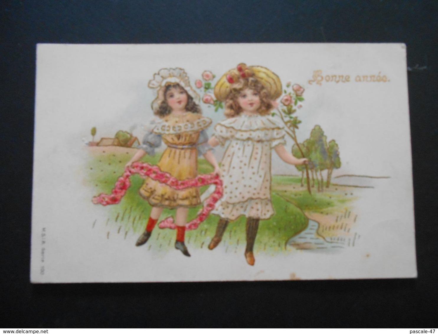 Petites Filles élégantes Avec Guirlande De Roses Dans Paysage Campagne - Dorure - Gaufrée - Série 100 - Enfants