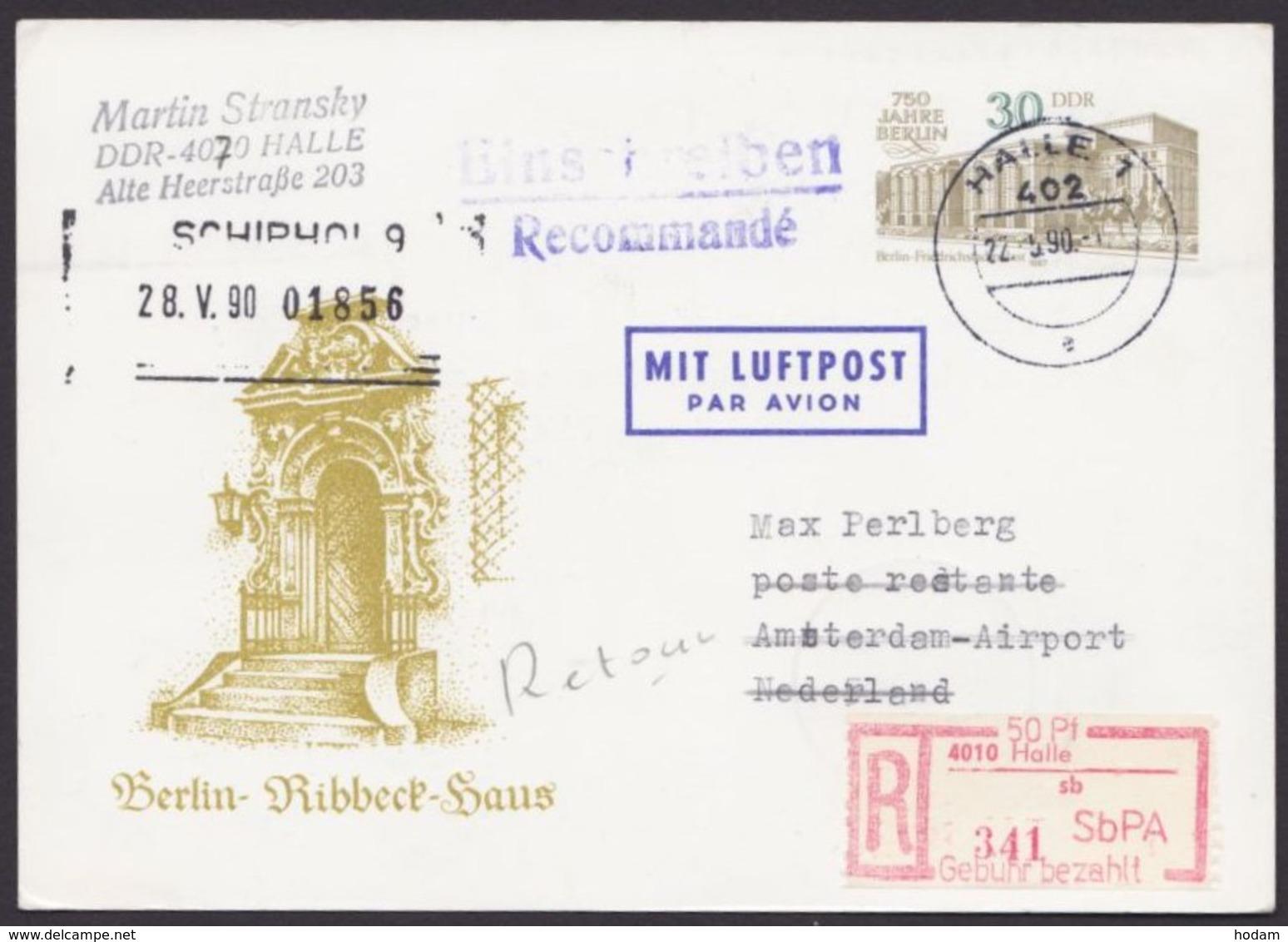 """Mi-Nr. P98, Portoger. R- Luftpost Nach Holland, SbPA- R- Zettel """"Halle"""" - DDR"""