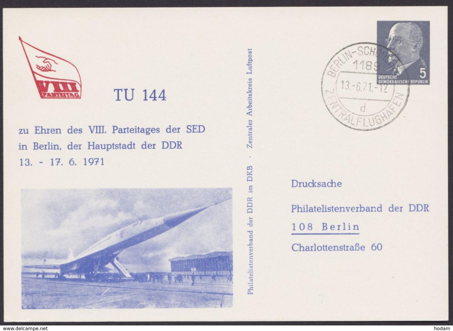 Mi-Nr. PP8 D2/01, Flugzeug TU 144, 1971 - Privatpostkarten - Gebraucht