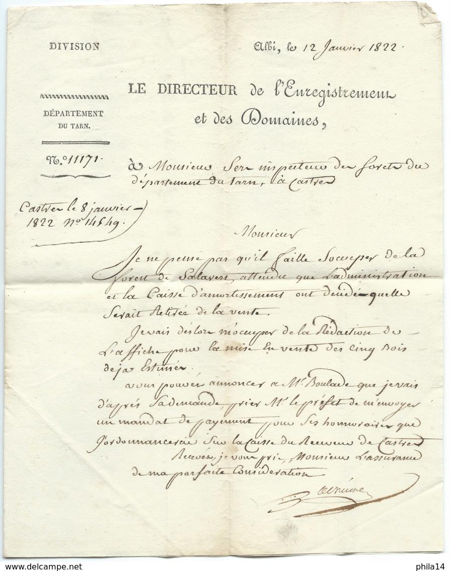 MARQUE POSTALE 77 ALBI TARN POUR CASTRES  1822 / LE DIRECTEUR DE L'ENREGISTREMENT ET DES DOMAINES - 1801-1848: Precursori XIX
