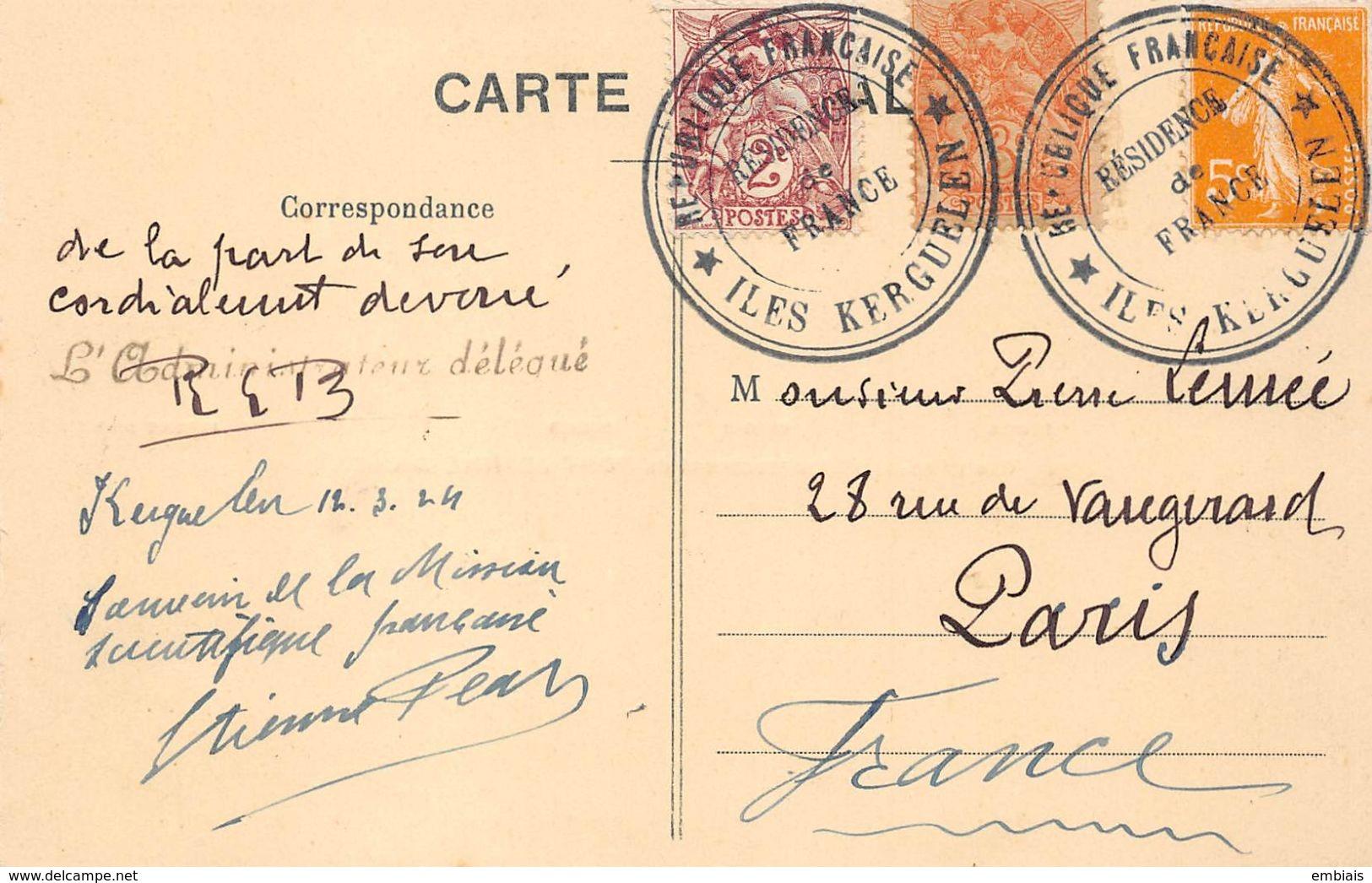 Mission Scientifique Française-Concession Des îles Kerguelen.Correspondance Et Autographes D'Etienne PAU,René BOSSIERE.. - Missions