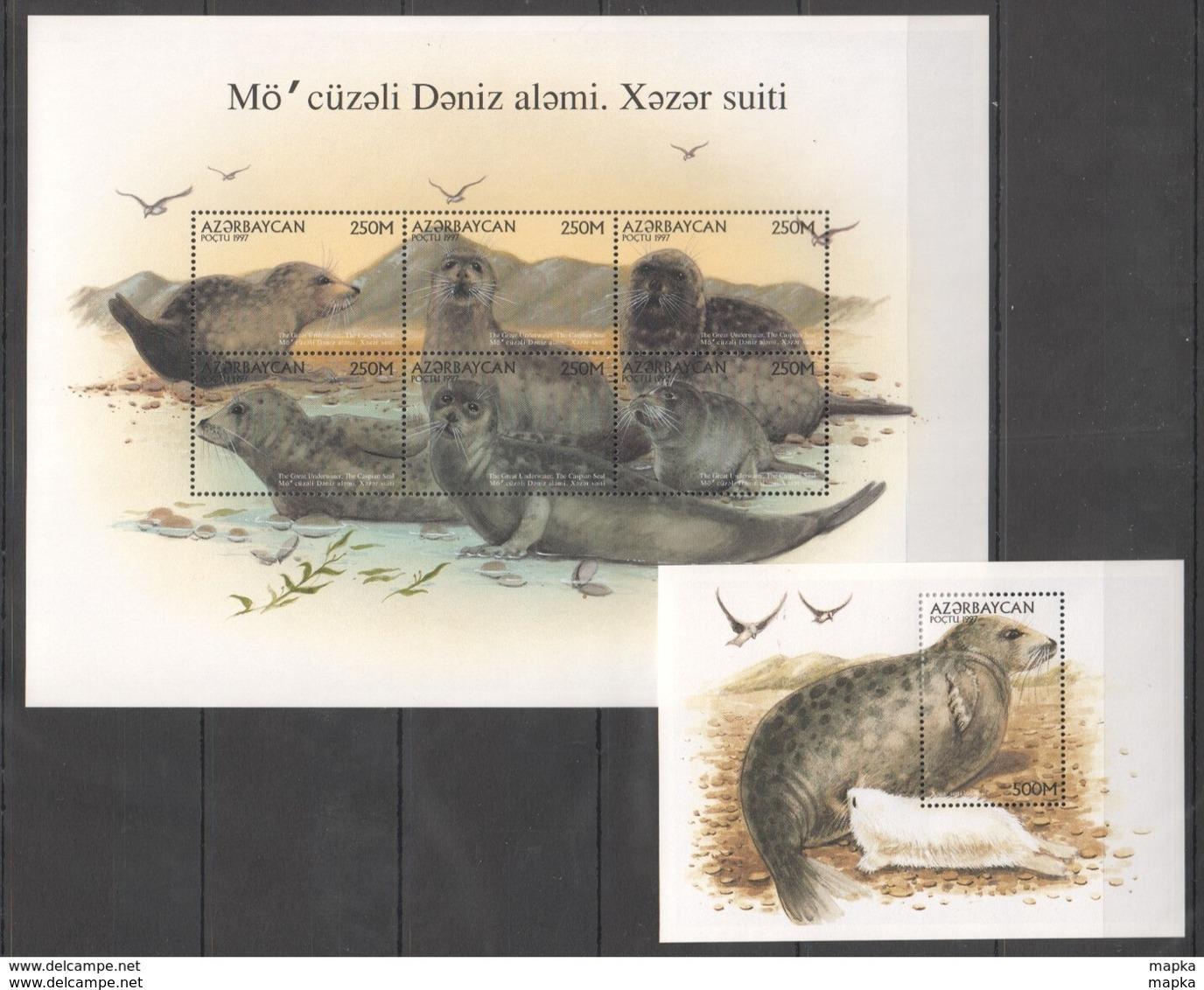 PK056 1997 AZERBAYCAN ANIMALS MARINE MAMMALS 1KB+1BL MNH STAMPS - Vita Acquatica