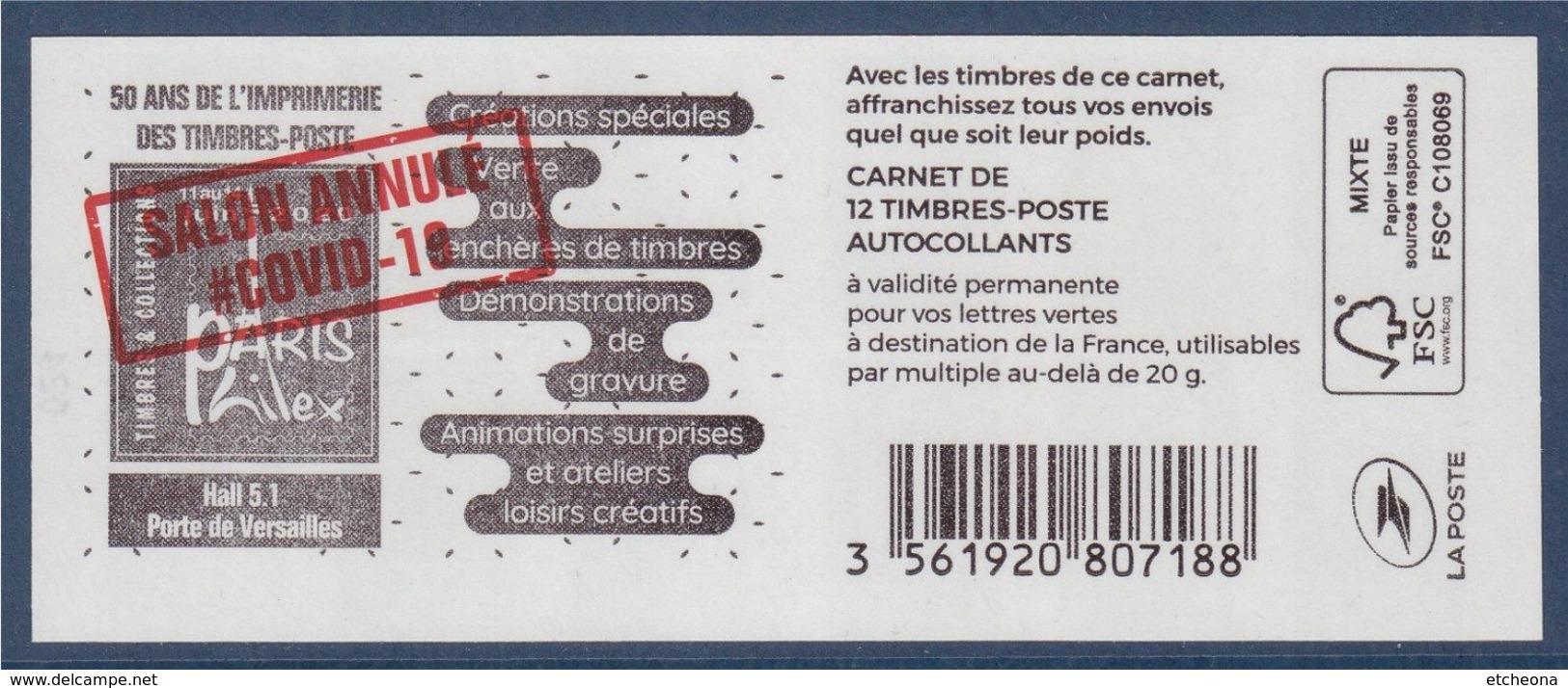 Marianne L'Engagée 2018 Carnet 024 LV X12 Type 1598 Paris Philex 2020 Surchargé Annulé Au Verso, Repère Bas Droit Recto - Booklets
