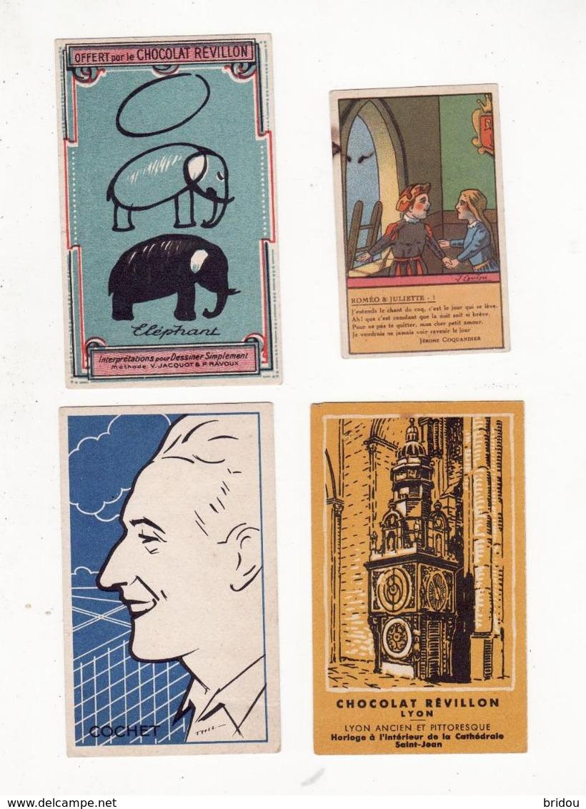 Chromo  CHOCOLAT REVILLON    Lot De 4    Lyon, éléphant, Cochet, Roméo Et Juliette - Revillon