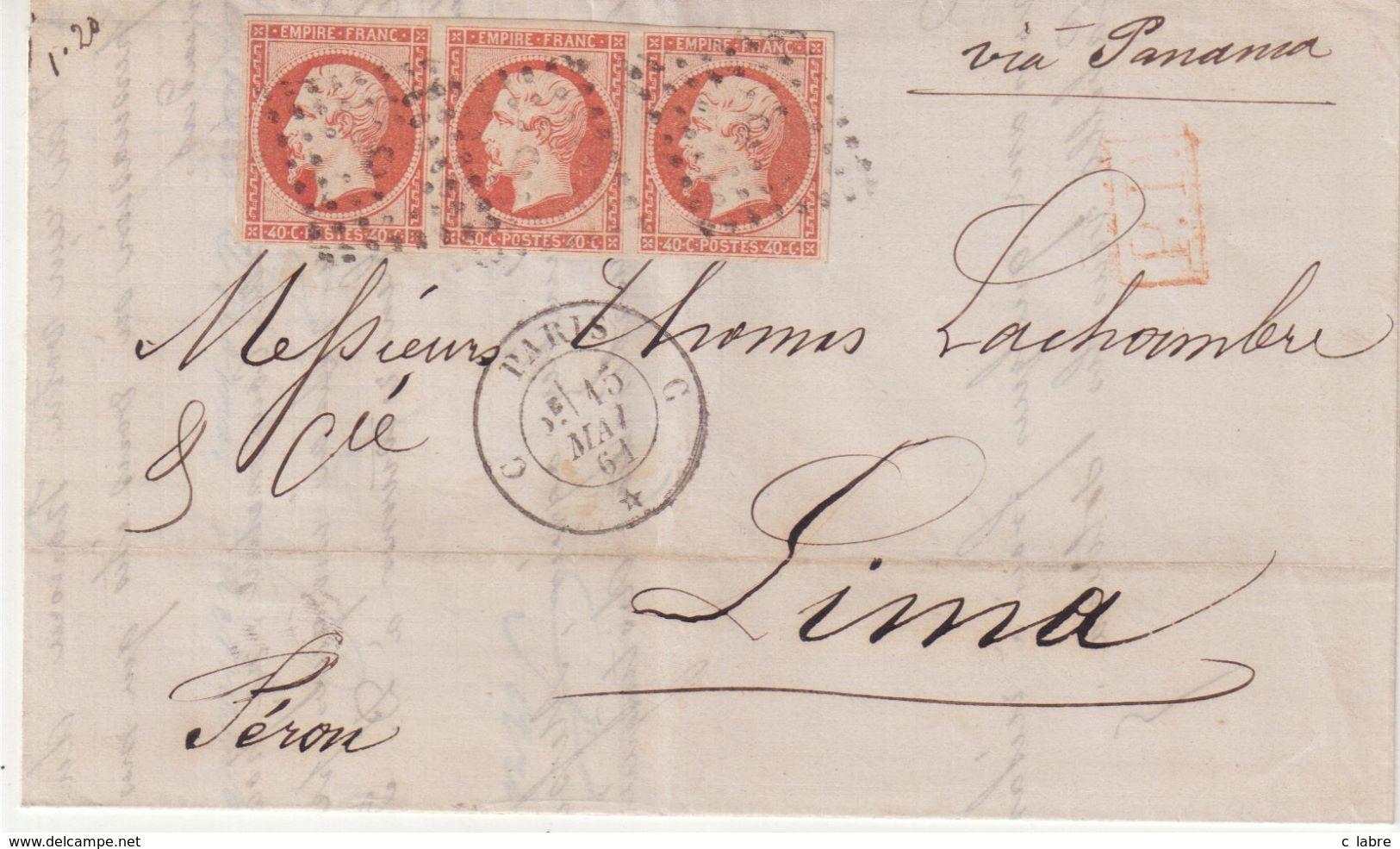 """FRANCE : N° 16 . BANDE DE TROIS . POUR """" LIMA """" ( PEROU) . VIA PANAMA . TTB . 1861 . - Postmark Collection (Covers)"""