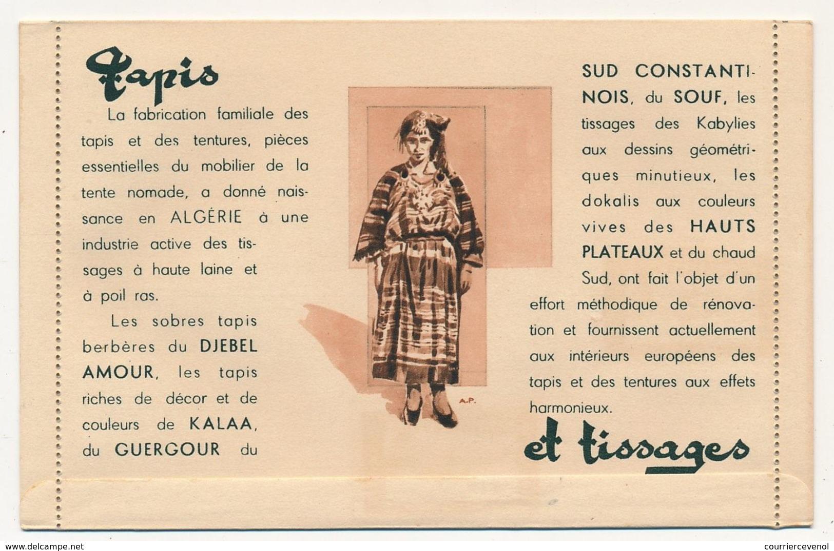 """ALGERIE - Pochette De 6 Cartes-lettres Illustrées """"L'ARTISANAT INDIGENE EN ALGERIE"""" Avec Affr Complémentaire, Neuves - Algeria (1924-1962)"""