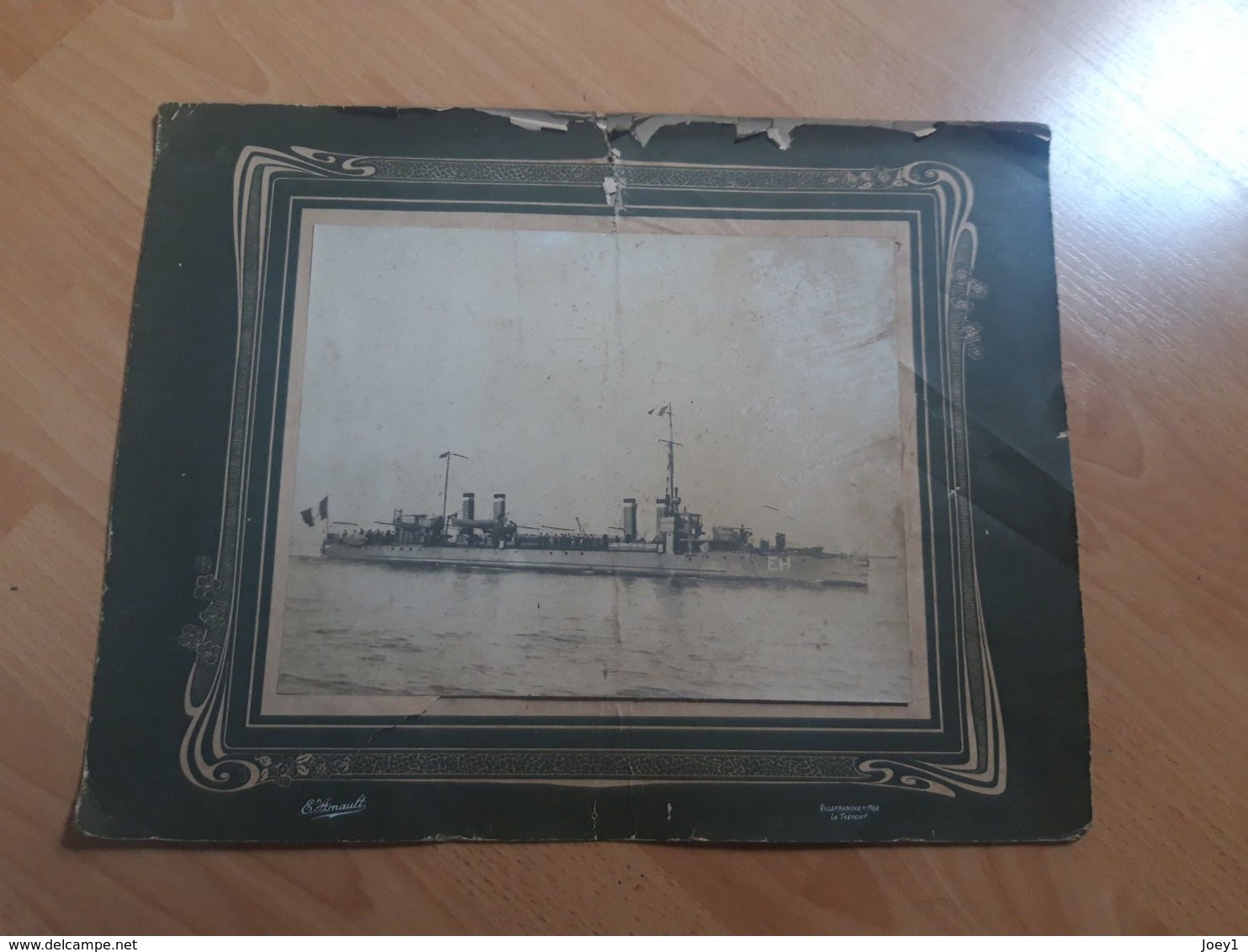Photo Croiseur Cuirassé Environ 1900,photographe E.Arnault ,Le Treport Villefranche/mer..bateau à Identifier... - Boats