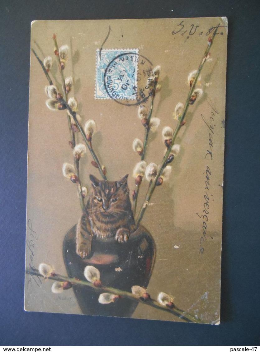 """Chat Tigré Dans Un Vase Avec Des """"minous"""" - Gaufrée - Série 5416 - Chats"""