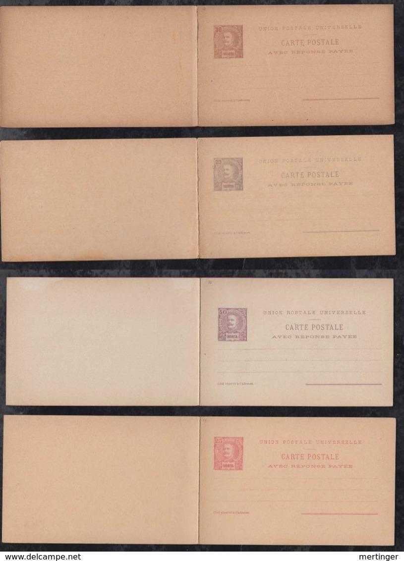 Portugal HORTA 1896 4 Postal Stationery Questio Reply Cards ** MNH Carlos I - Horta