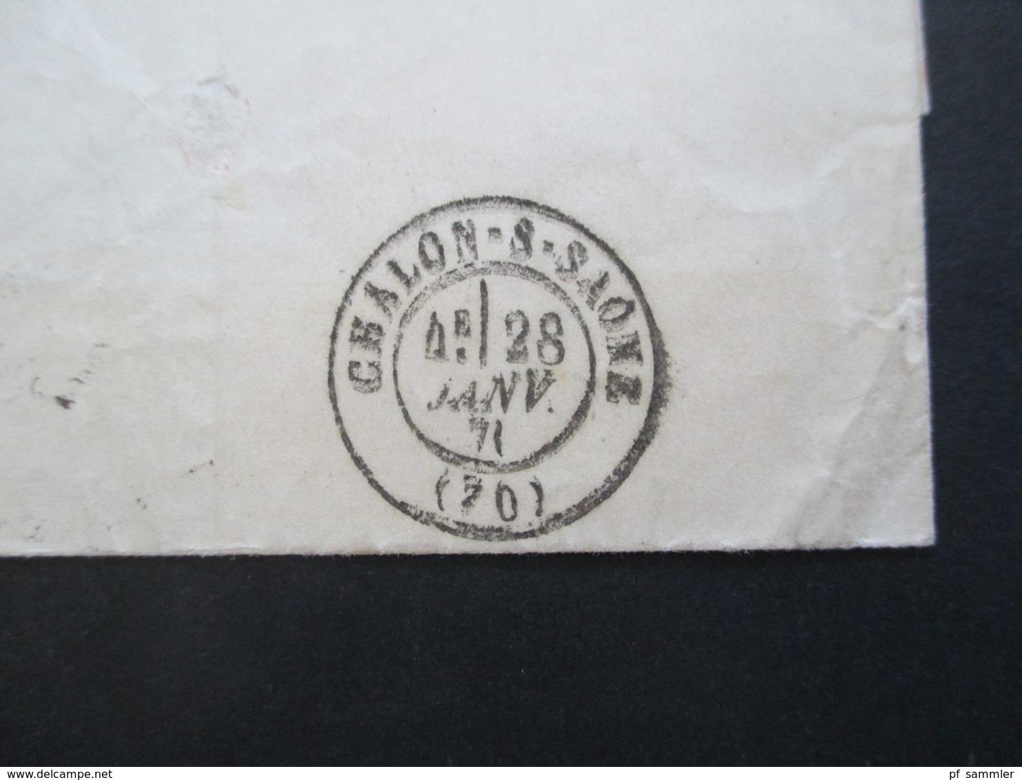 Frankreich Par Ballon Monté 16.1.1871 Brief Mit Inhalt!! Ank. Stempel Chalon - S - Saone Ballonpost Besetztes Paris! - 1870 Siege Of Paris