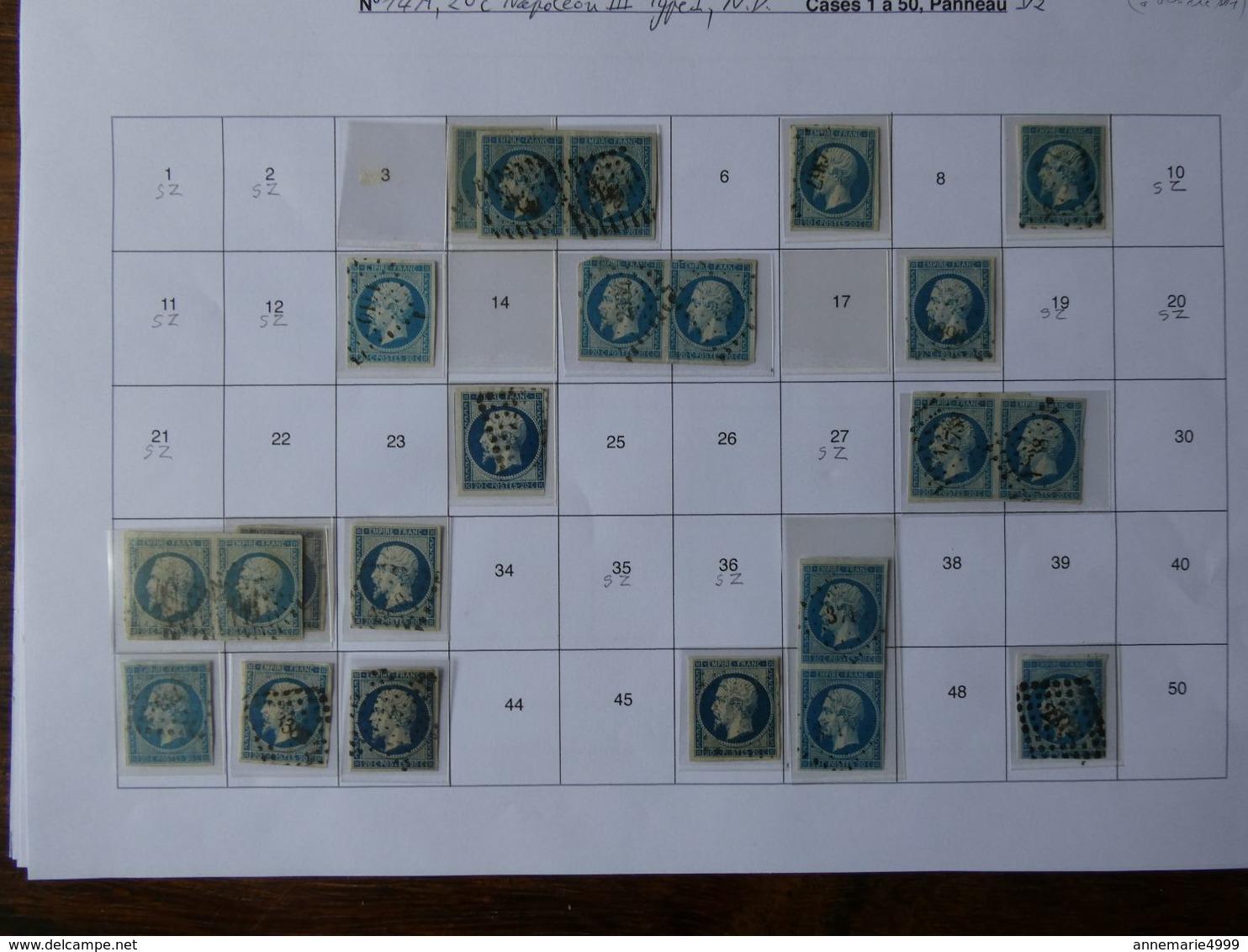 FRANCE Début De  PLANCHAGE Panneau D2 Du Numéro 14, 79 Exemplaires à Leur Place , Voir Scans, Travail De Spécialiste - 1853-1860 Napoléon III