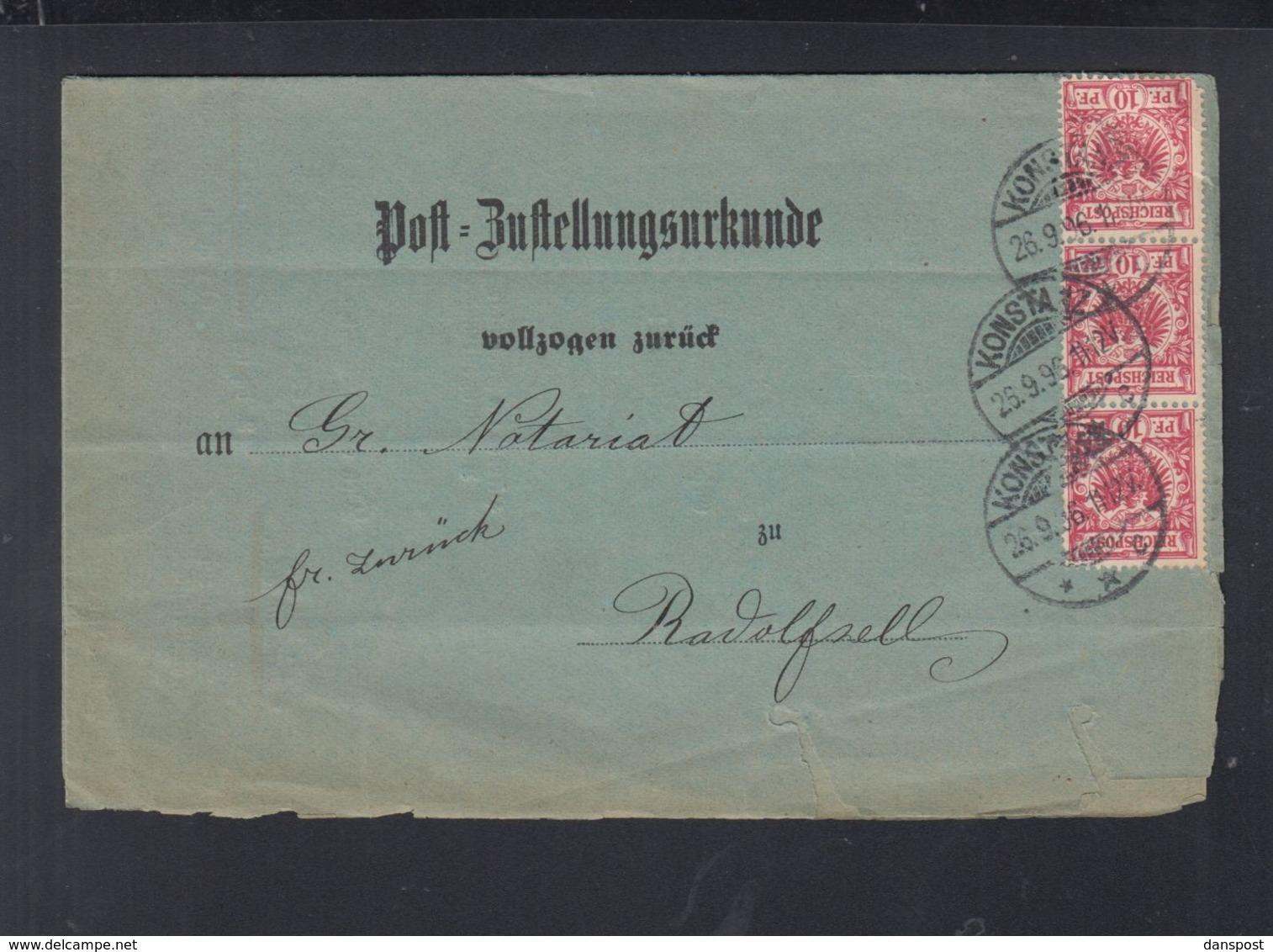 Dt. Reich Post-Zustellungsurkunde 1896 Konstanz - Deutschland