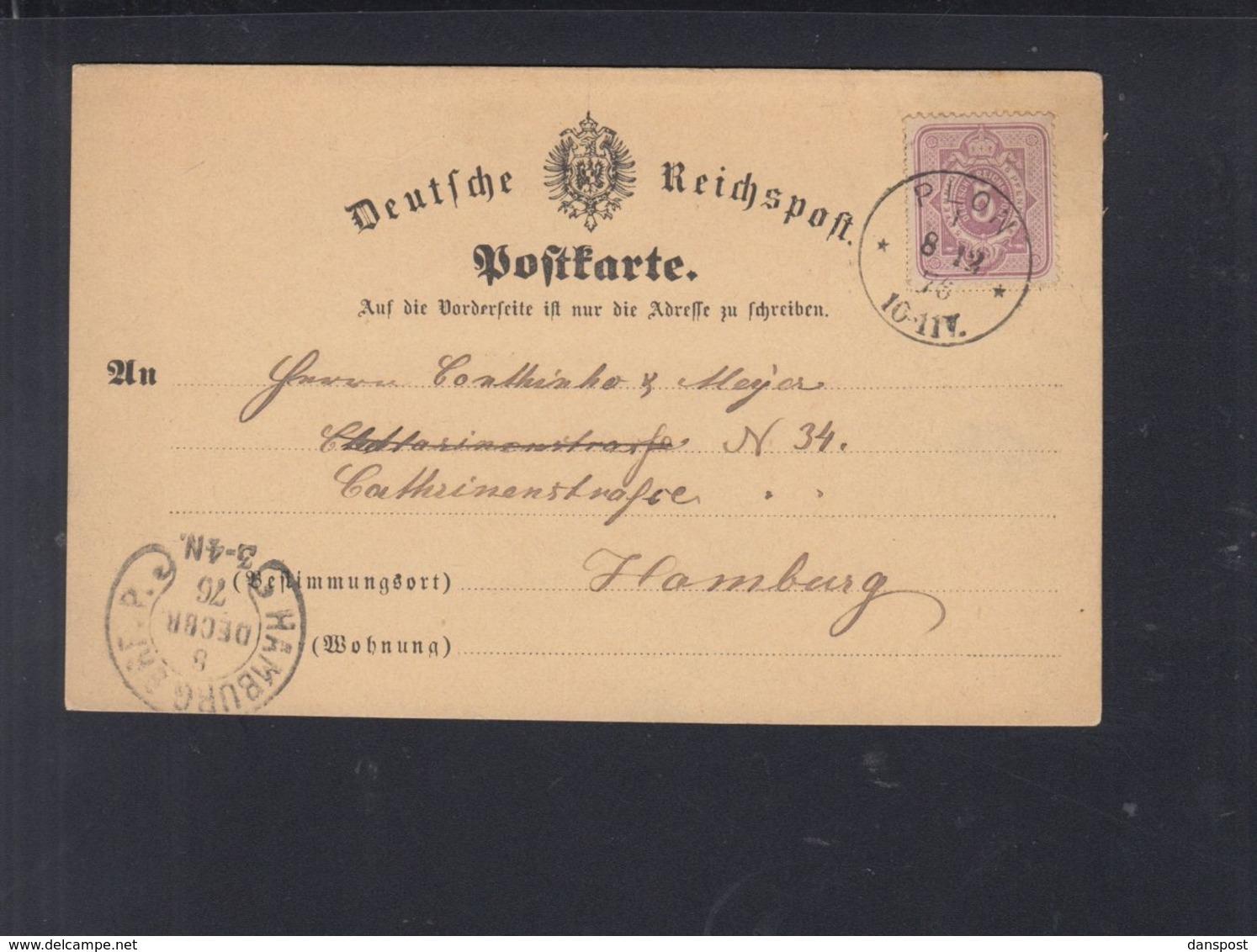 Dt. Reich PK 1875 Plon Nach Hamburg Bahnhof Hufeisen - Deutschland