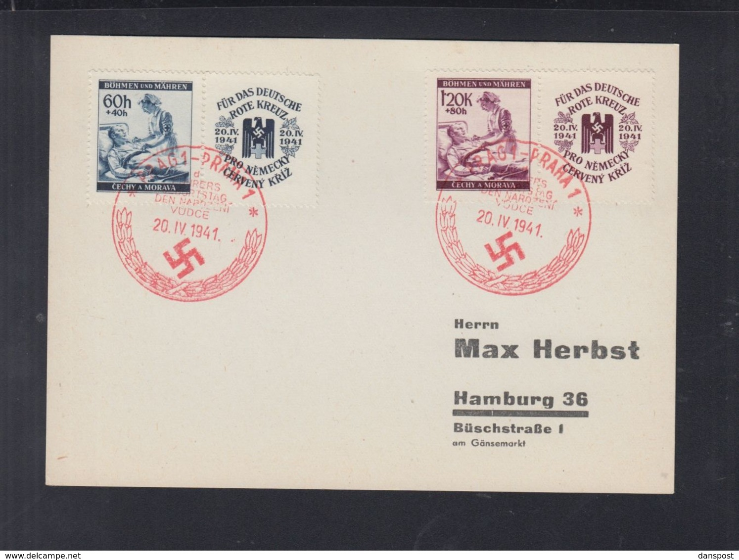 Böhmen Und Mähren PK Prag 1941 Sonderstempel - Besetzungen 1938-45