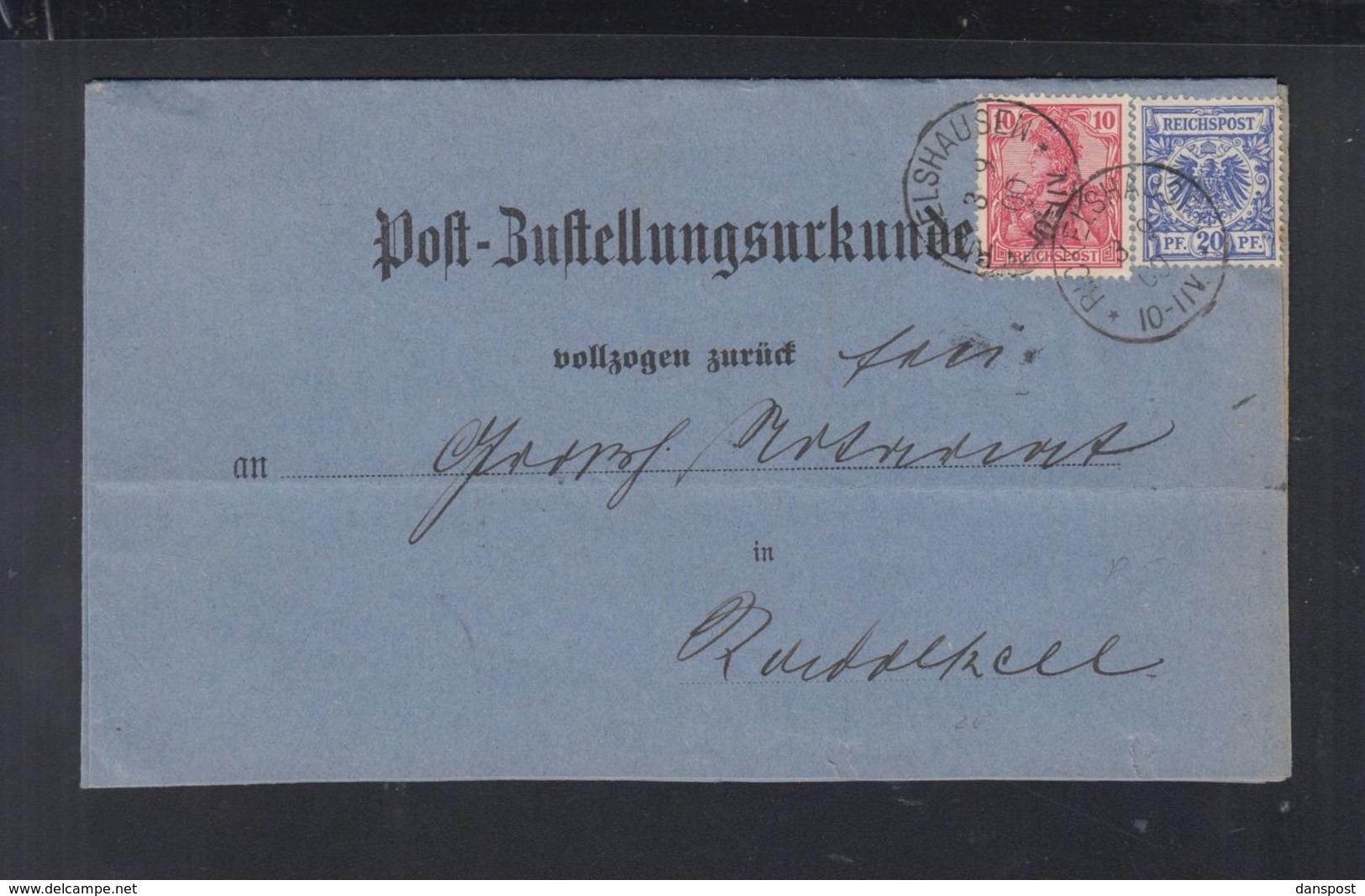 Dt. Reich Post-Zustellungsurkunde Rickelshausen 1900 - Deutschland