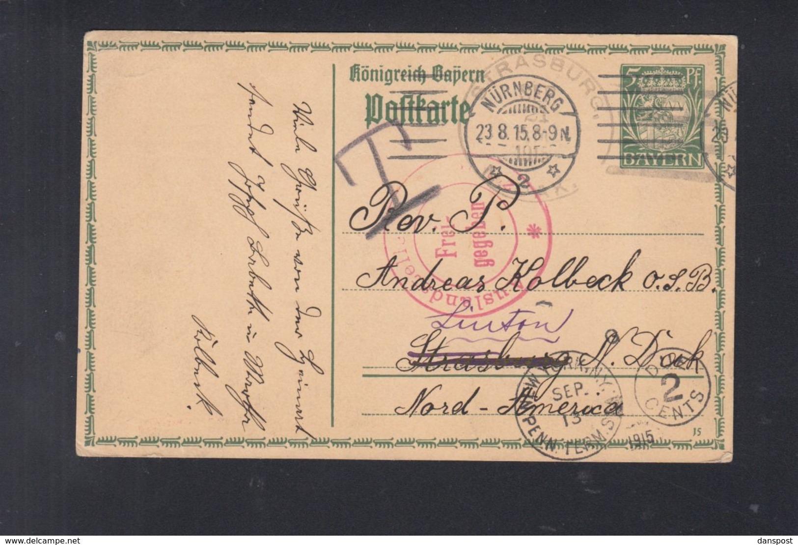 Bayern GSK 1915 Nach USA Nachporto - Bayern