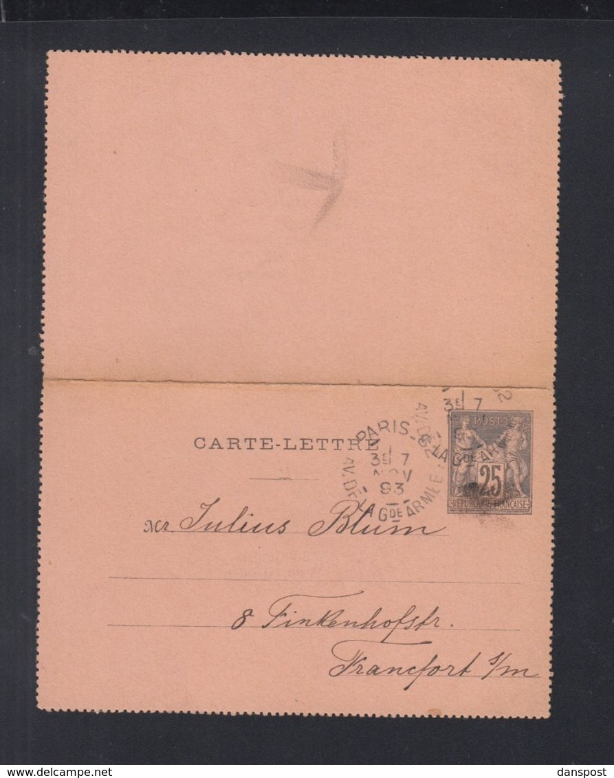Frankreich France Carte-Lettre Paris 1893 Nach Frankfurt - Kartenbriefe