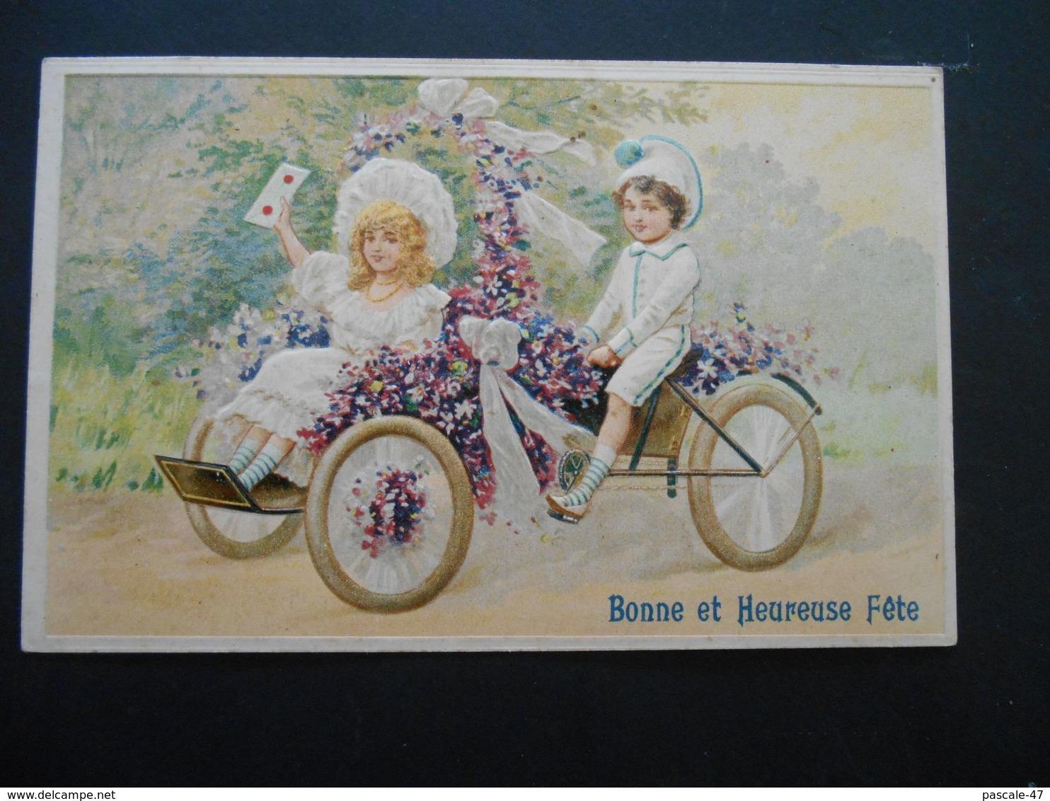 Enfants élégants Avec Lettre Dans Voiture à Pédales Pleine De Violettes - Gaufrée - Série 3119 - Enfants