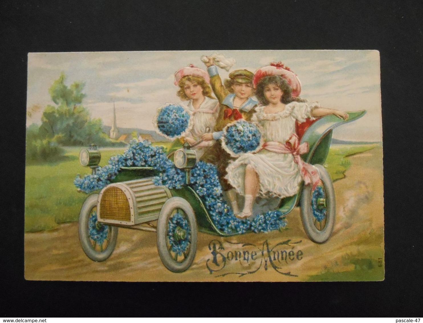 Enfants élégants Dans Une Automobile Pleine De Myosotis - Gaufrée - Série 681 - Enfants