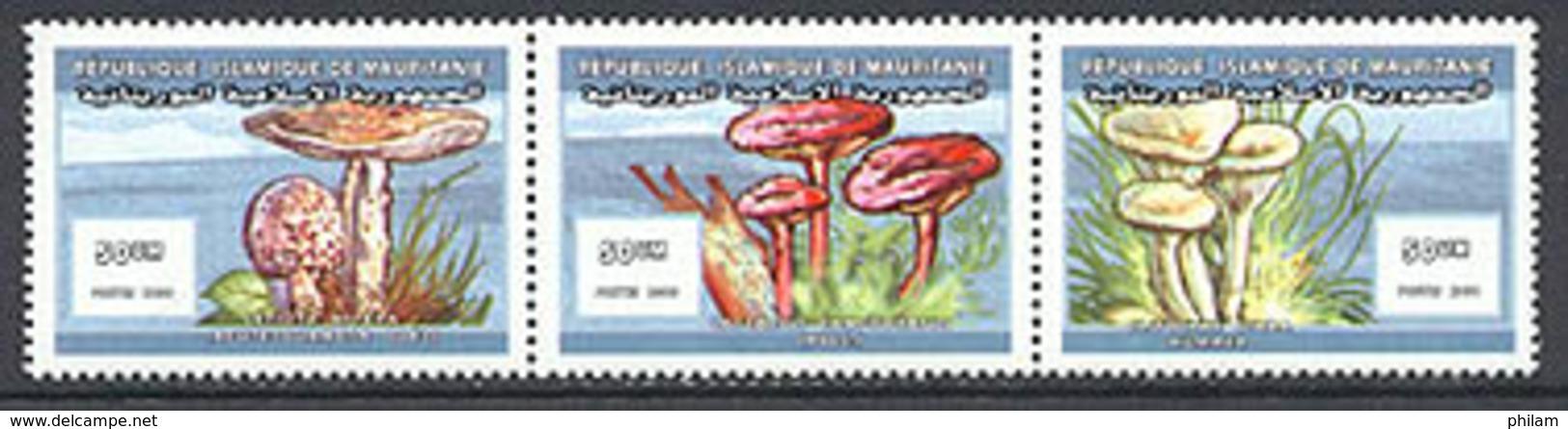 MAURITANIE 2000 - Les Champignons - 3 V. Se Tenant - 687/89 - Mauritania (1960-...)