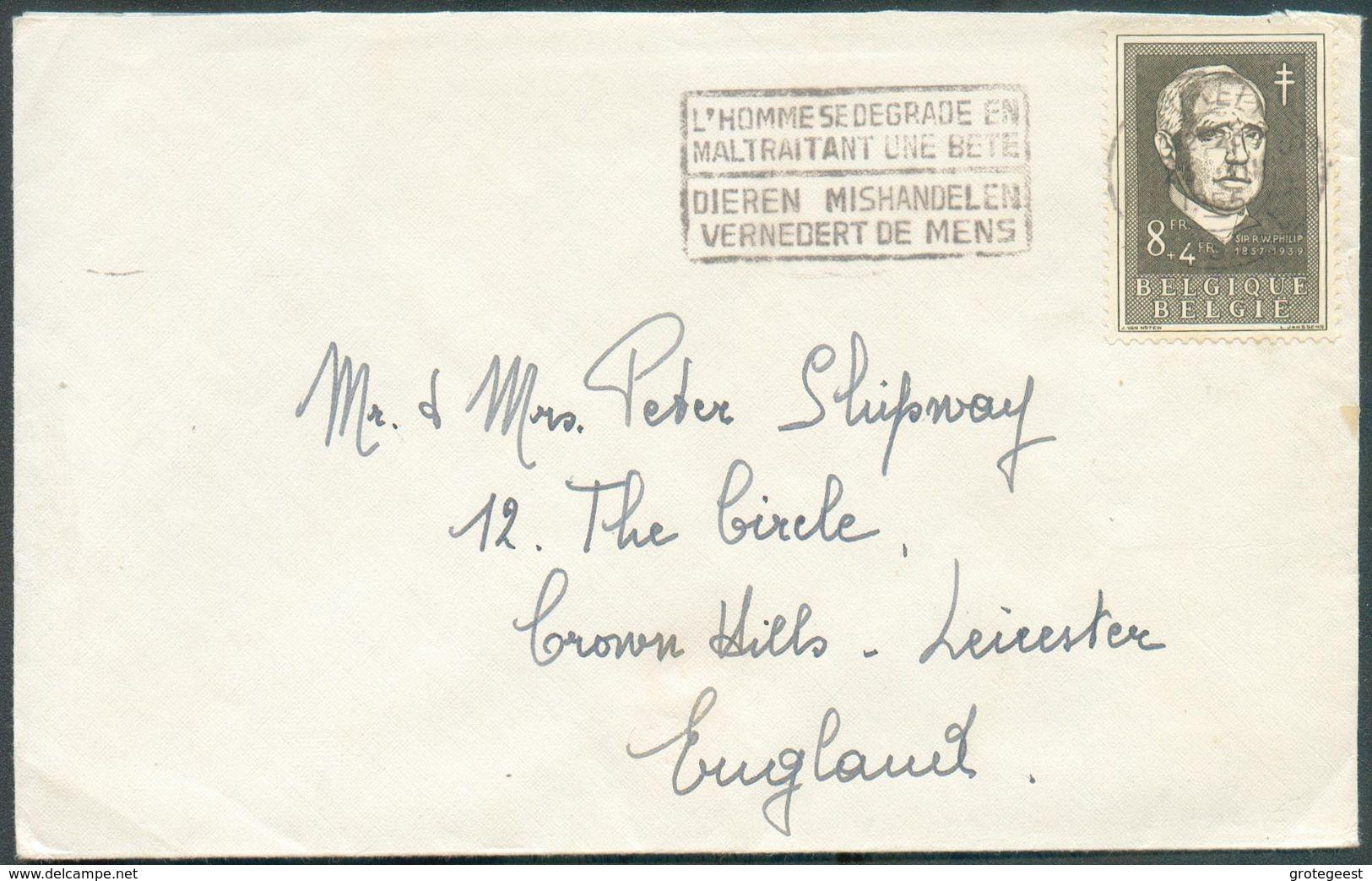N°985 - 8Fr.William Phillipobl. Mécanique DeBRUXELLESs/L. Du 23-XII-1955 Vers La G-B. Rare Seul Sur Lettre. -TTB - - Briefe U. Dokumente