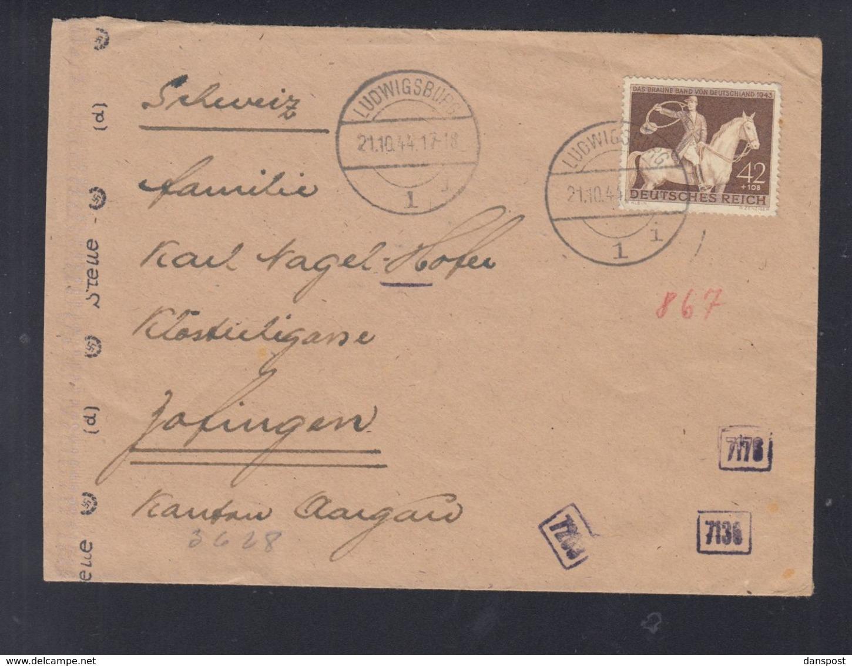 Dt. Reich Brief 1944 Ludwigsburg Nach Schweiz - Deutschland