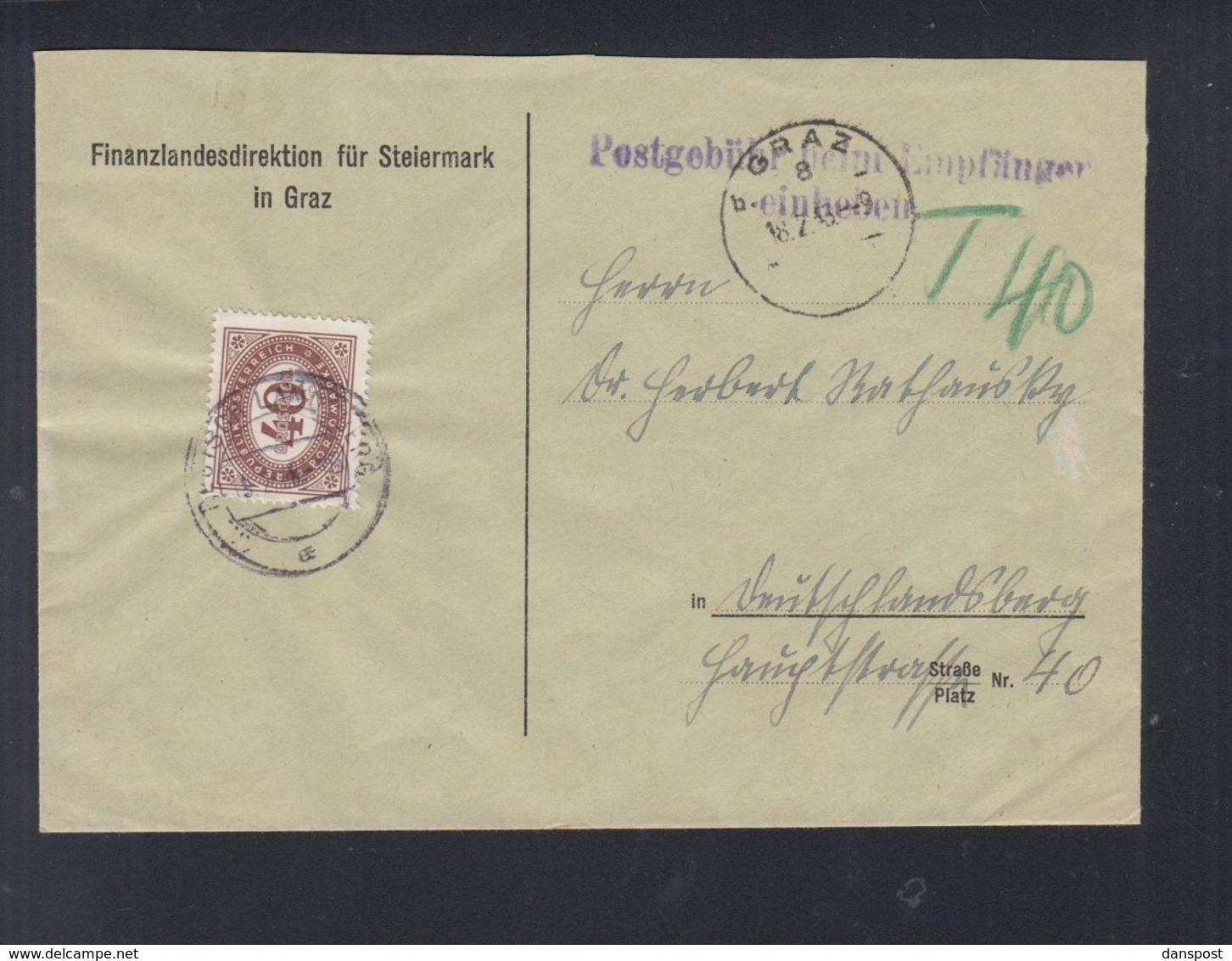 Österreich Brief Finanzlandesdirektion Graz Nachporto - 1918-1945 1. Republik