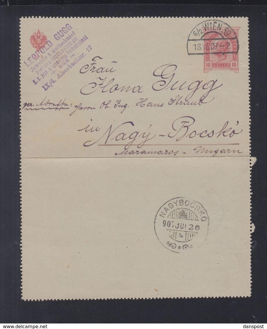 Österreich Karten-Brief 1907 Nach Nagy-Bocsko Welykyj Bytschkiw Ukraine - 1850-1918 Imperium