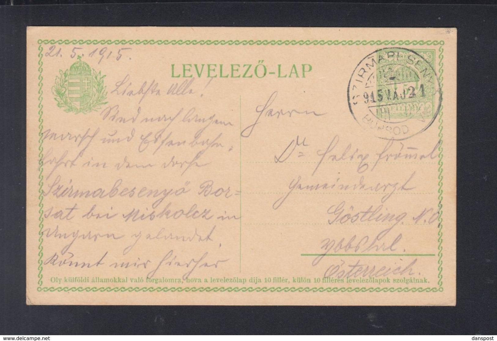 Ungarn Hungary GSK 1915 Szirmabesenyő Nach Österreich - Briefe U. Dokumente