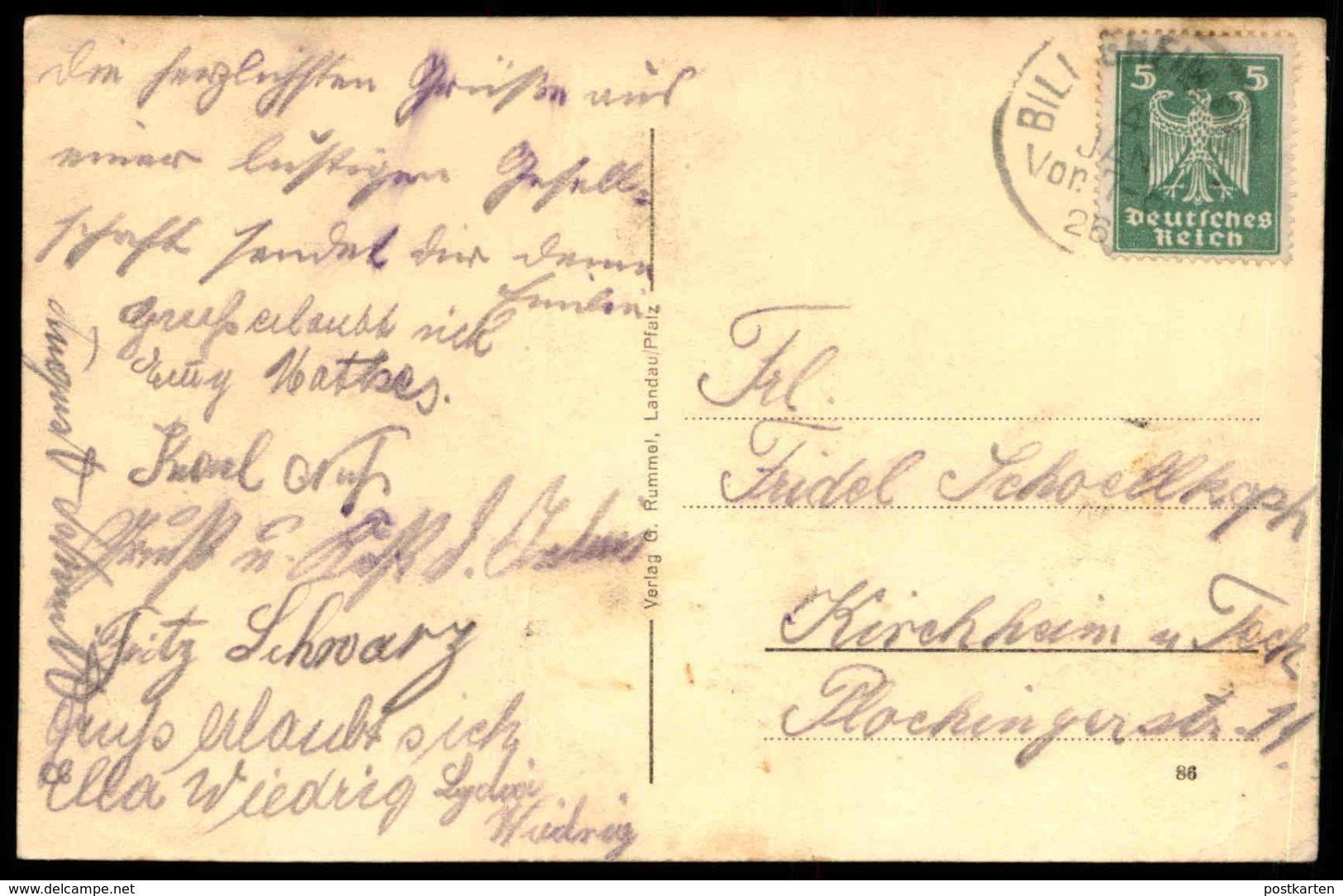 ALTE POSTKARTE GASTHAUS ZUM LAMM BILLIGHEIM BESITZER BÜRGERMEISTER JAKOB KERN Baden-Württemberg Ansichtskarte Postcard - Non Classificati