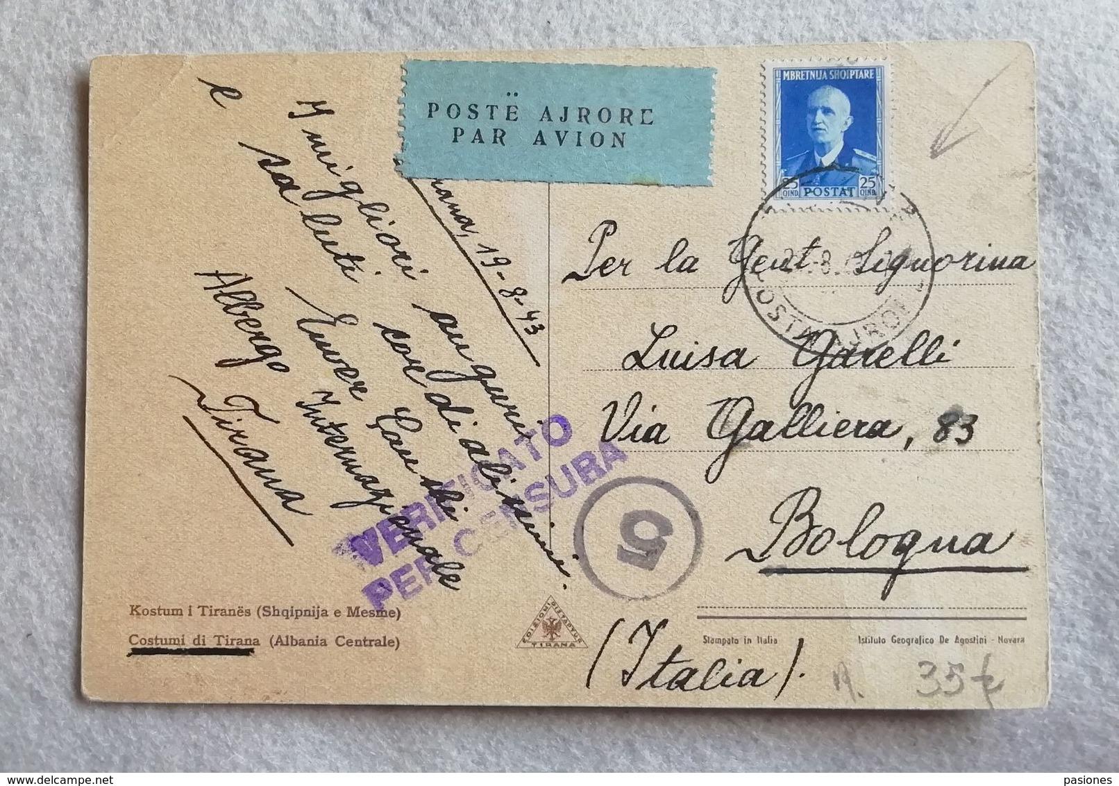 Cartolina Illustrata Per Via Aerea Da Tirana Per Bologna 1943 Affrancata Con 25 Q. Azzurro - Albania