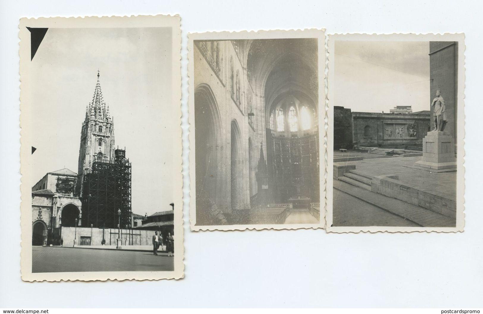 Spain, OVIEDO, 3 Real Photo 1951, Catedral , Estatua De Pelayo  ( 2 Scans ) - Luoghi