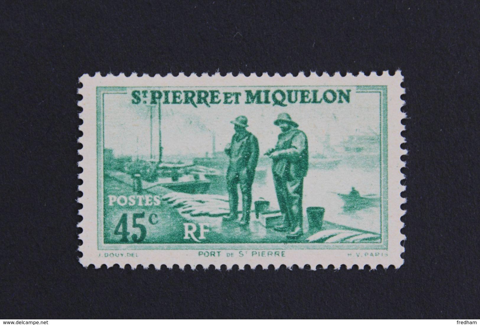 1939,ST-PIERRE-ET-MIQUELON Y&T NO 197 45C PORT DE SAINT-PIERRE VERT NEUF MH ** - Nuevos