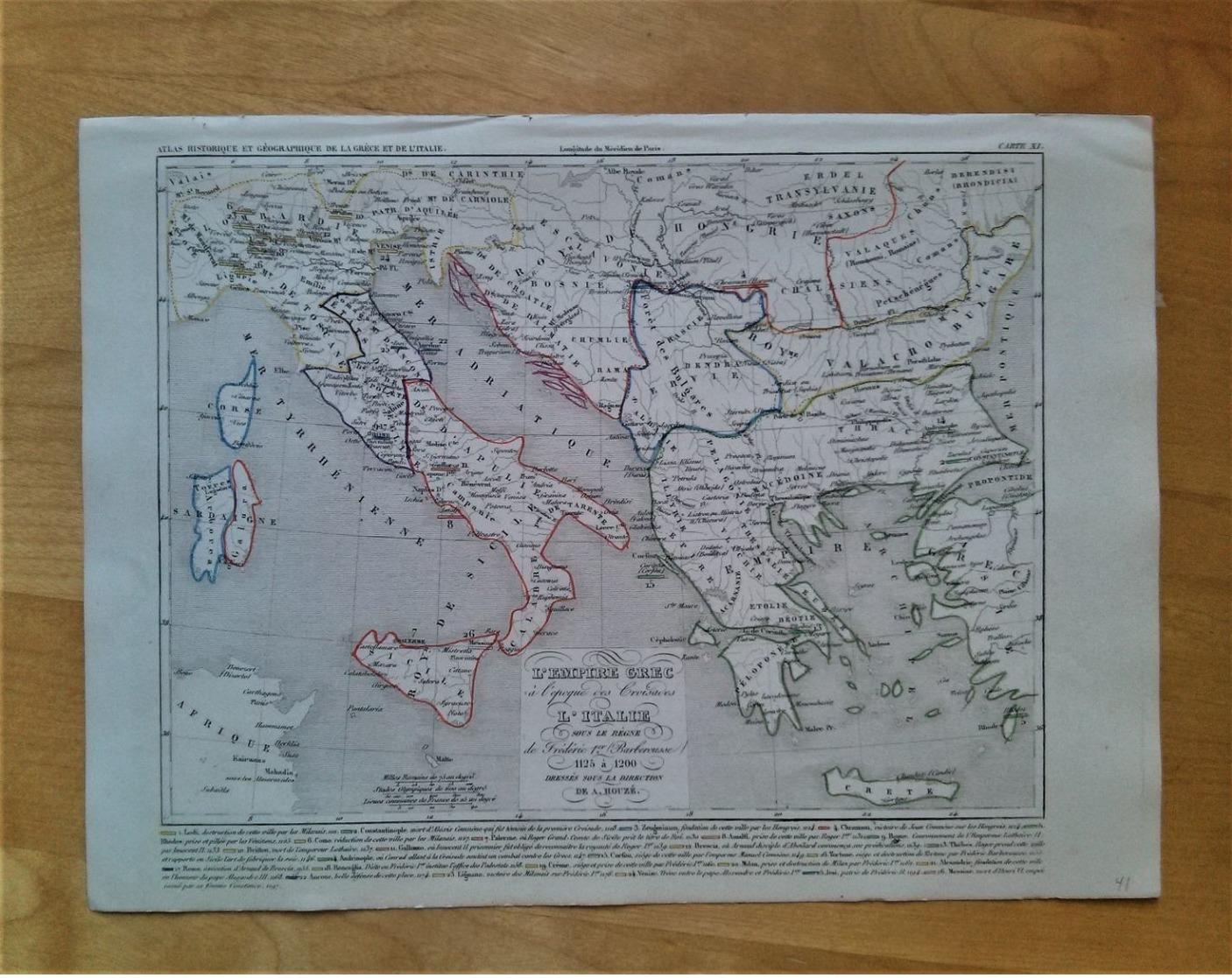 L'empire Grec à L'époque Des Croisades, L'Italie Sous Le Règne De Frédéric 1er Barberousse 1125 à 1200 Par A.Houzé - Mapas Geográficas