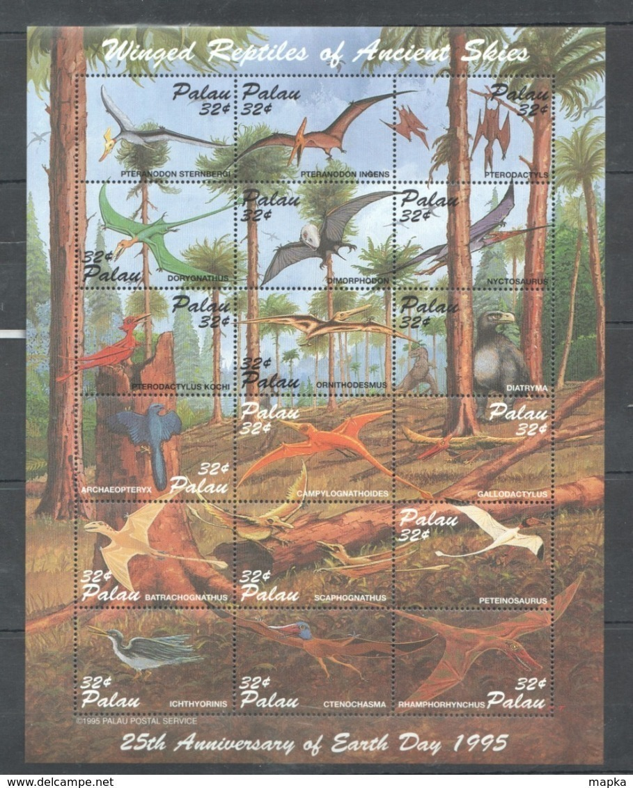 PK024 1995 PALAU DINOSAURS WINGED REPTILES OF ANCIENT SKIES 1SH MNH - Preistorici