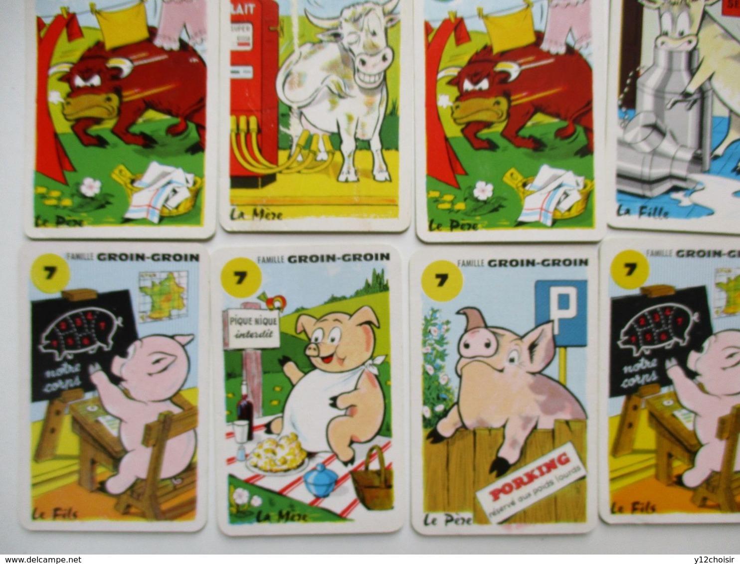 25 CARTES DE JEU DE 7 SEPT FAMILLES LES ANIMAUX CHAT POISSON PECHE CHIEN SAINT BERNARD CROIX ROUGE RHUM LAITERIE BAYEUX - Jeux De Société