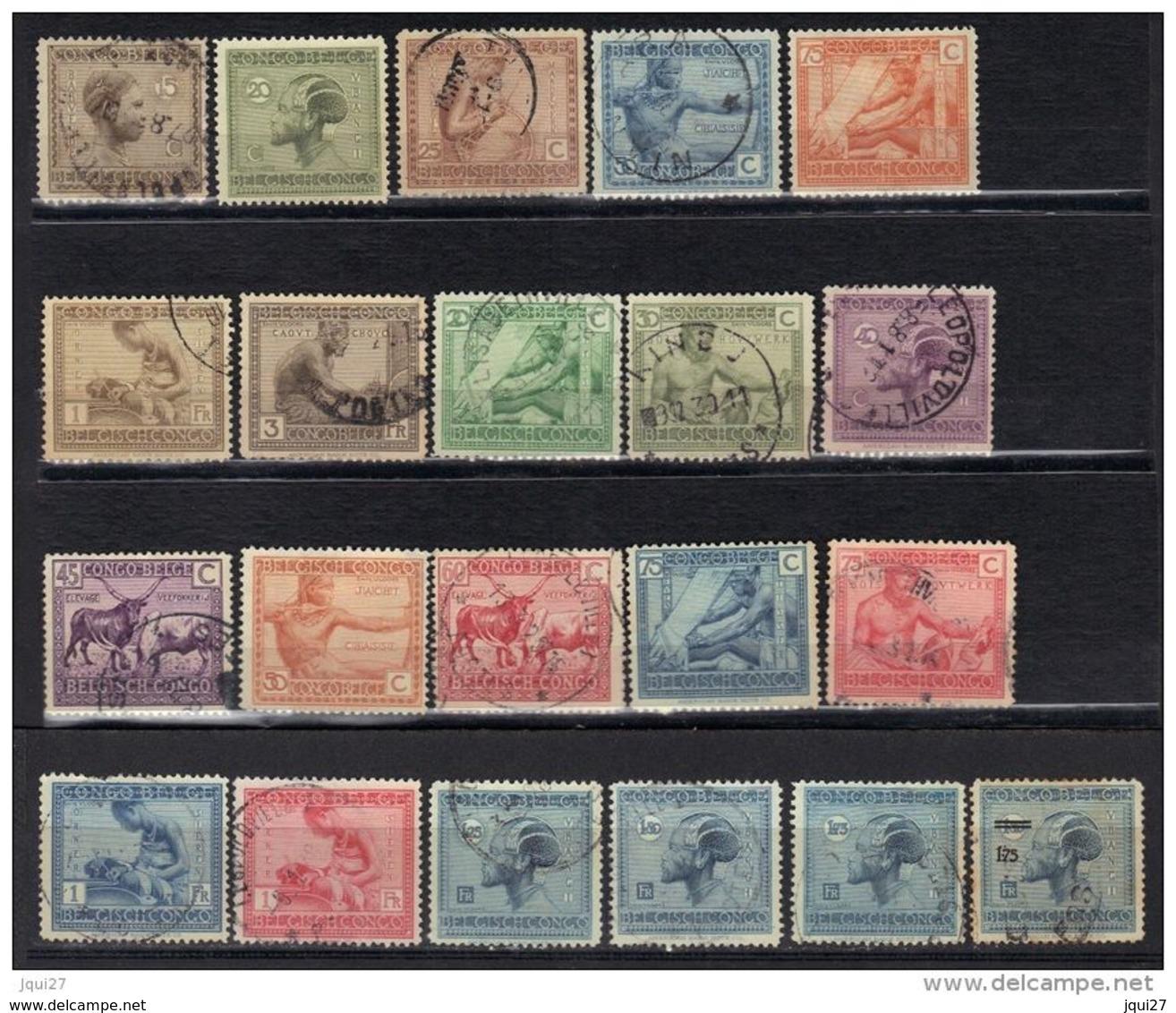 Congo Belge N° 108-110, 112-115, 118, 119, 121-131, 134 * Et O - 1923-44: Afgestempeld