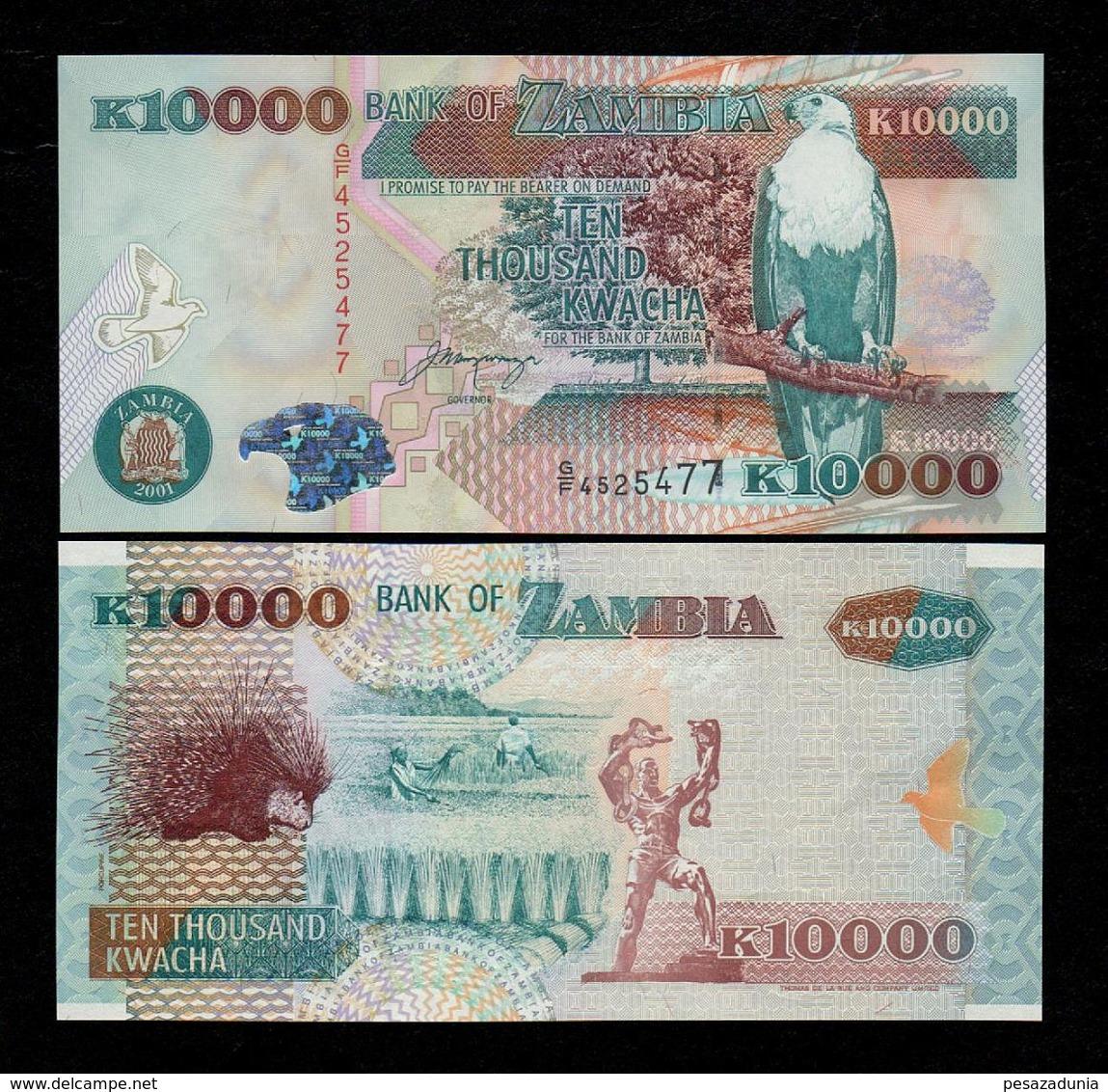 ZAMBIA 10000 (10,000) KWACHA BANKNOTE 2001 UNC P-42b Scarce! - Zambia