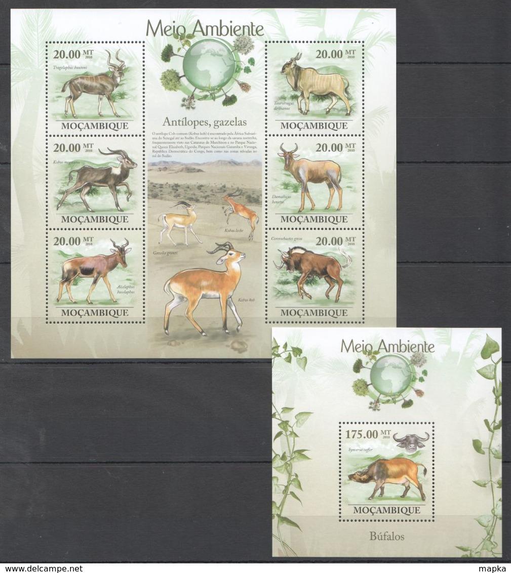 QQ095 2010 MOZAMBIQUE MOCAMBIQUE FAUNA MEIO AMBIENTE ANIMALS BUFALOS ANTILOPES,GAZELAS 1SH+1BL MNH - Altri