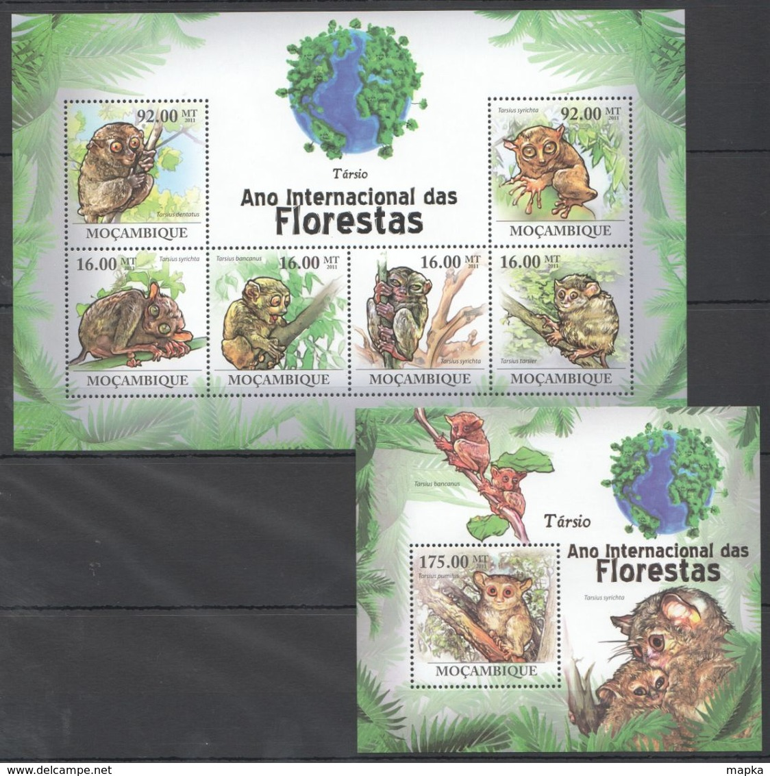 QQ120 2011 MOZAMBIQUE MOCAMBIQUE FAUNA DAS FLORESTAS ANIMALS TARSIO 1SH+1BL MNH - Scimmie