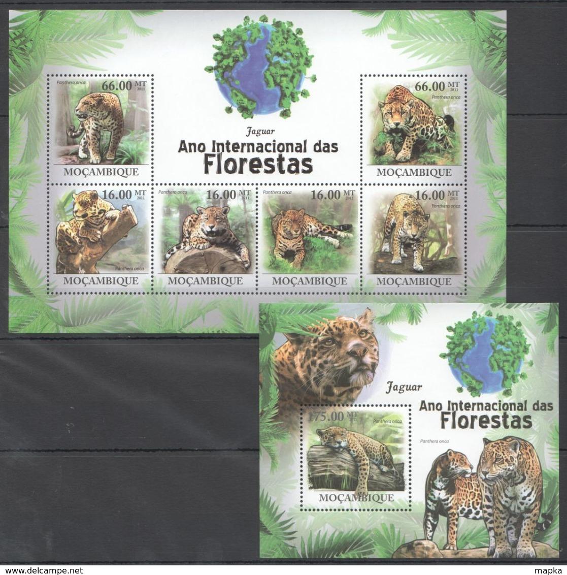 QQ125 2011 MOZAMBIQUE MOCAMBIQUE FAUNA DAS FLORESTAS ANIMALS JAGUAR 1SH+1BL MNH - Felini