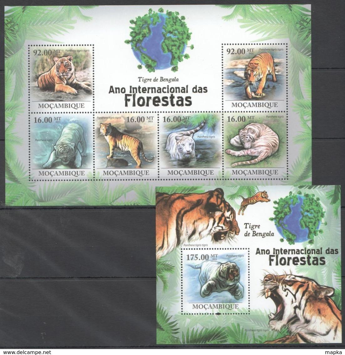 QQ128 2011 MOZAMBIQUE MOCAMBIQUE FAUNA DAS FLORESTAS ANIMALS TIGRE DE BENGALA 1SH+1BL MNH - Felini